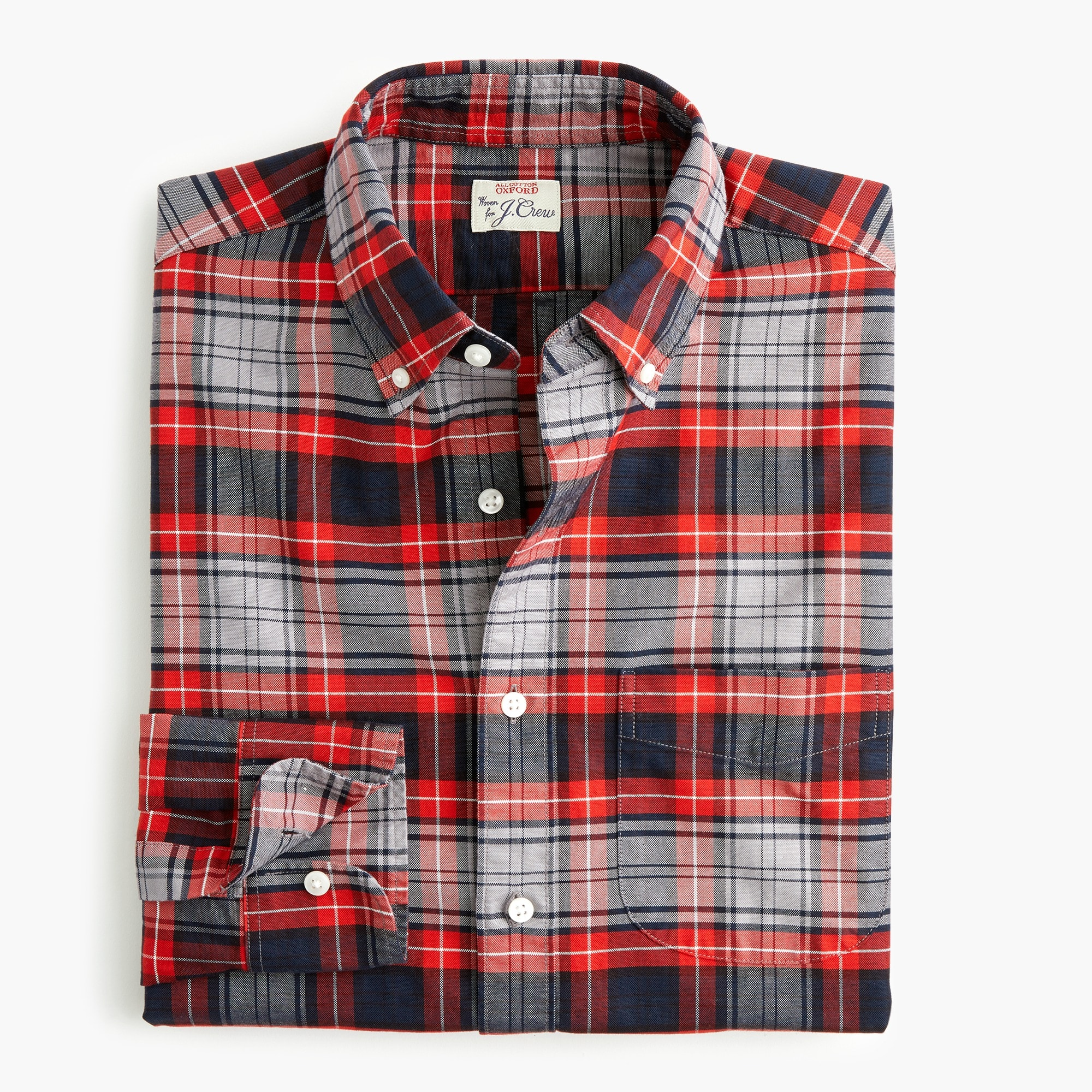 mens American Pima cotton oxford shirt with mechanical stretch in red-and-grey plaid