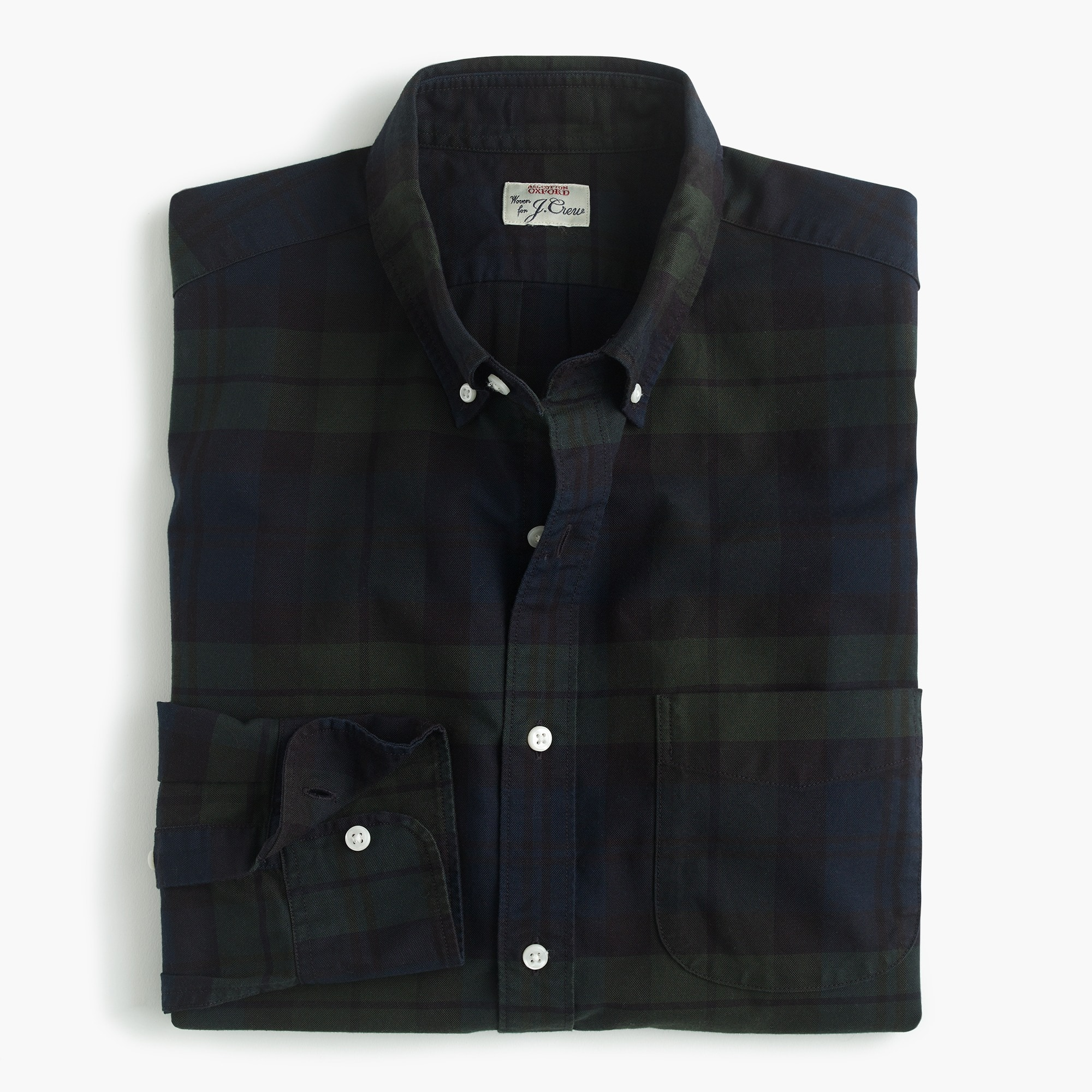 mens American Pima cotton oxford shirt with mechanical stretch in Black Watch tartan