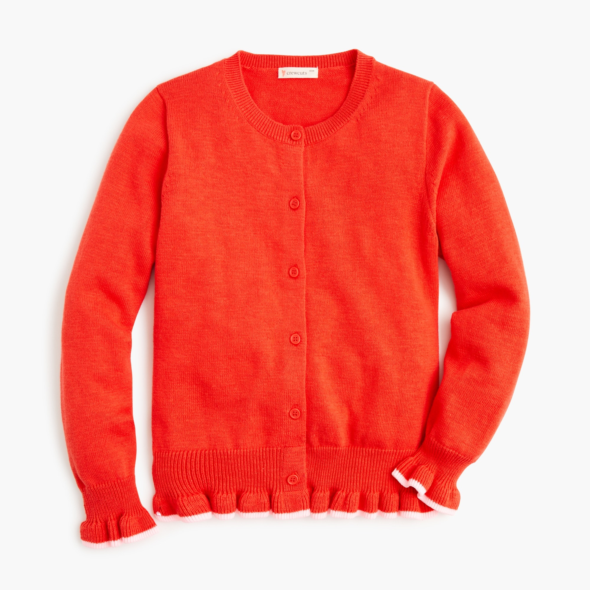 girls Girls' ruffle-trimmed cardigan sweater