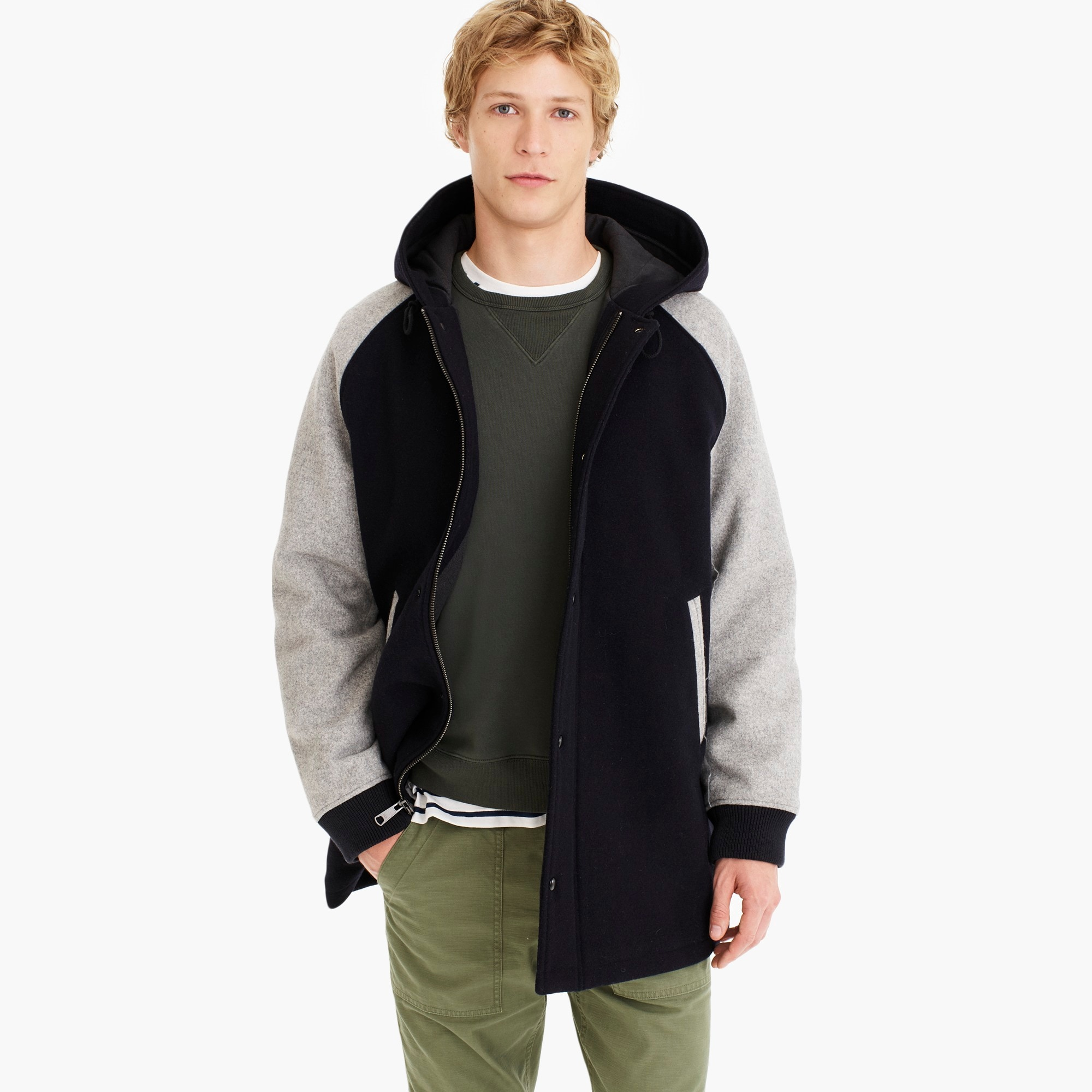 mens Wool-nylon sideline jacket