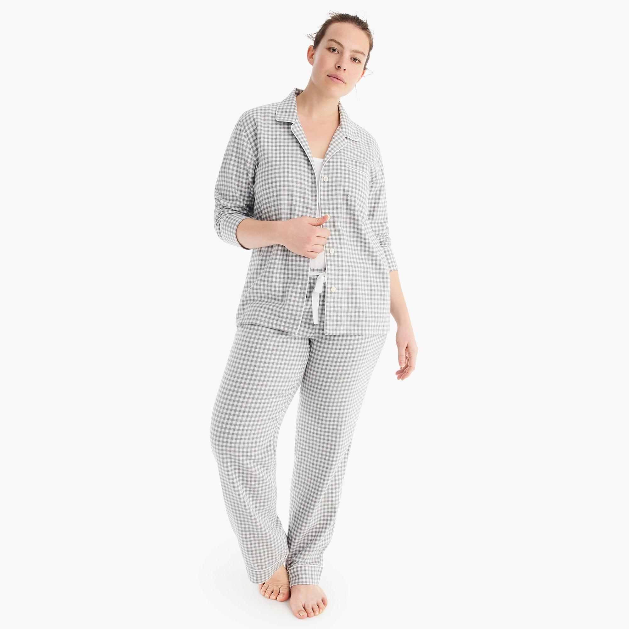 womens Vintage pajama set in flannel gingham