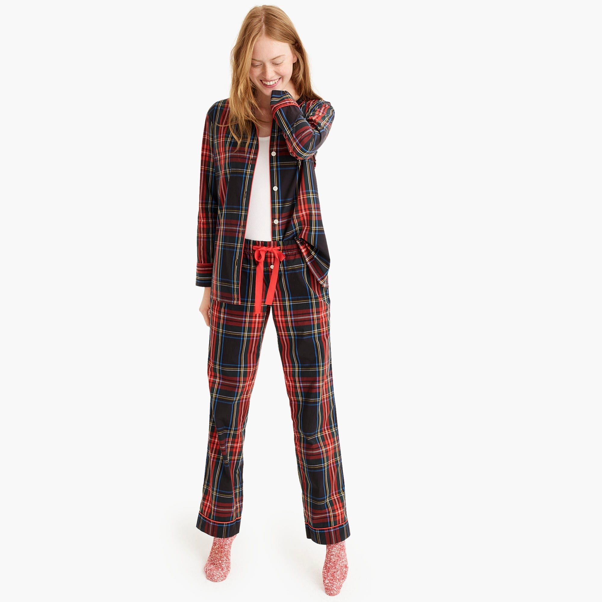 womens Vintage pajama set in Stewart black tartan