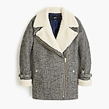 Oversized herringbone motorcycle jacket with sherpa-lined front