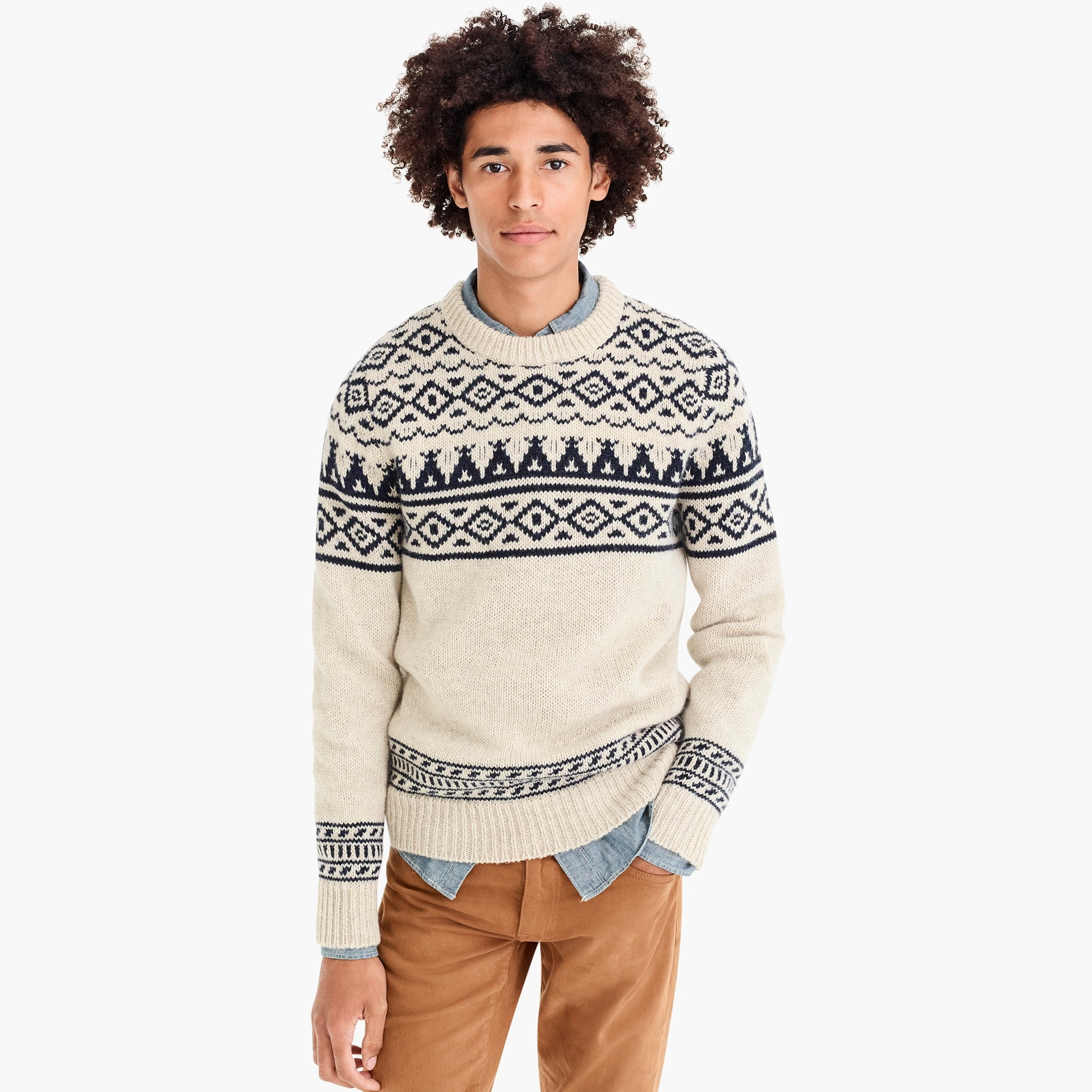 mens Wallace & Barnes crewneck sweater in placed Fair Isle