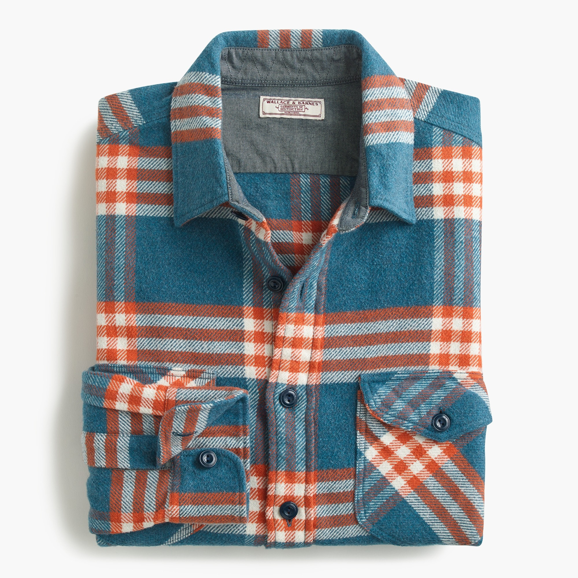 mens Wallace & Barnes heavyweight flannel shirt in vista plaid