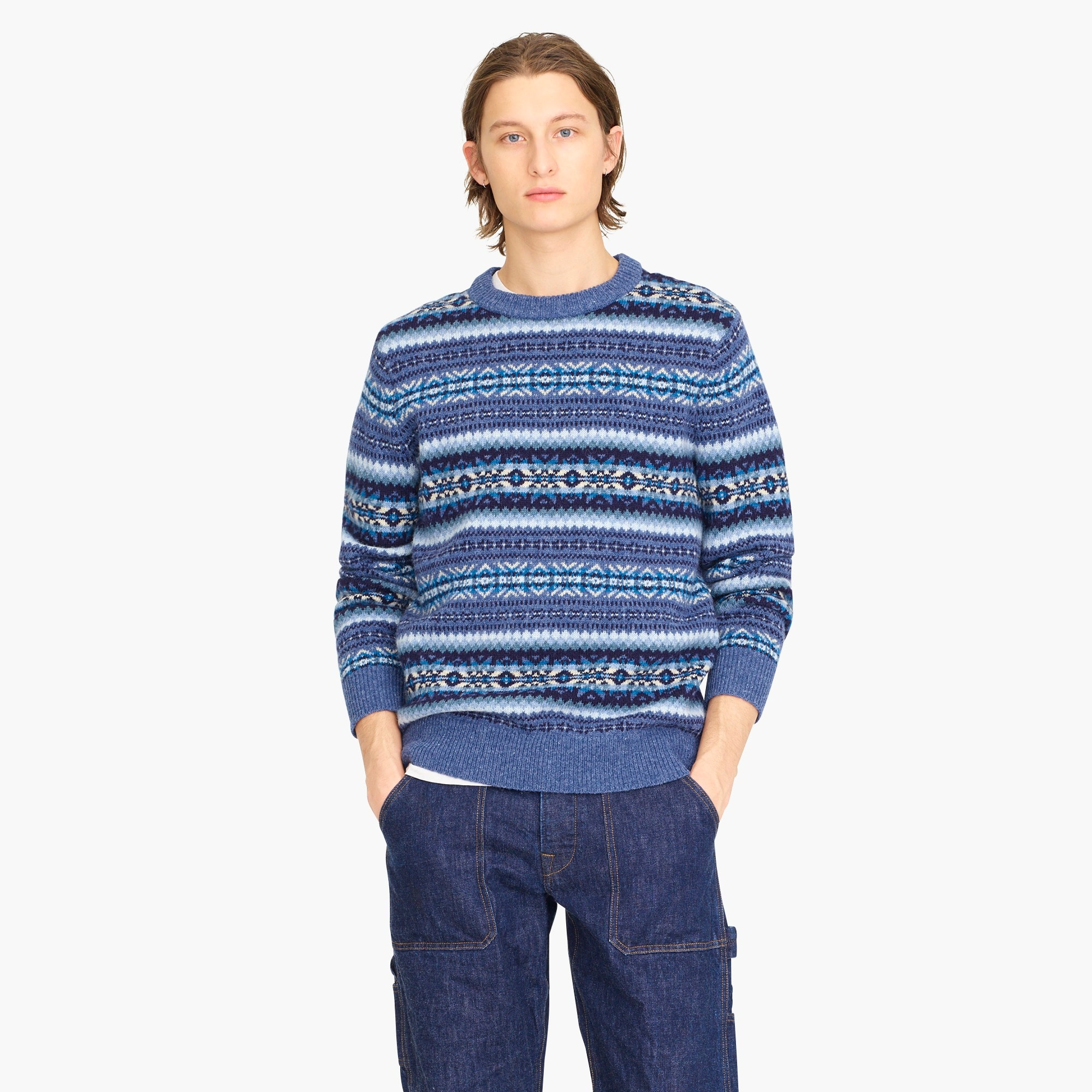 mens Wallace & Barnes crewneck sweater in blue Fair Isle