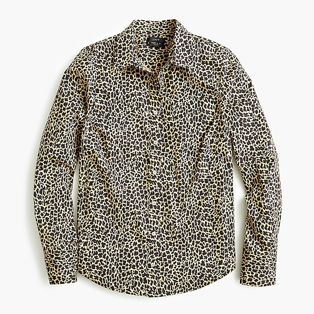 7d590f4c29fe j.crew: slim stretch perfect shirt in leopard print, right side, view
