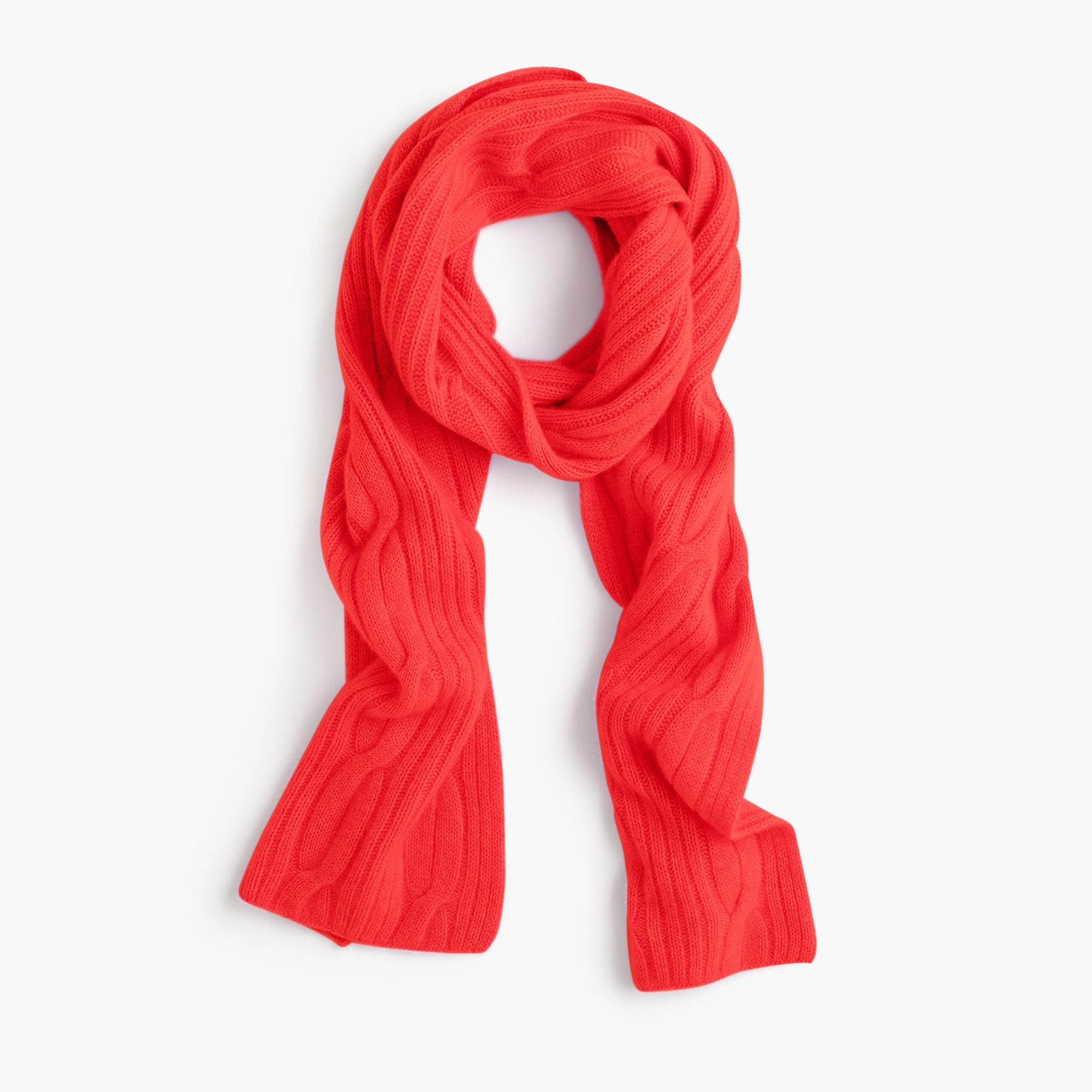 womens Ribbed cable-knit scarf in everyday cashmere