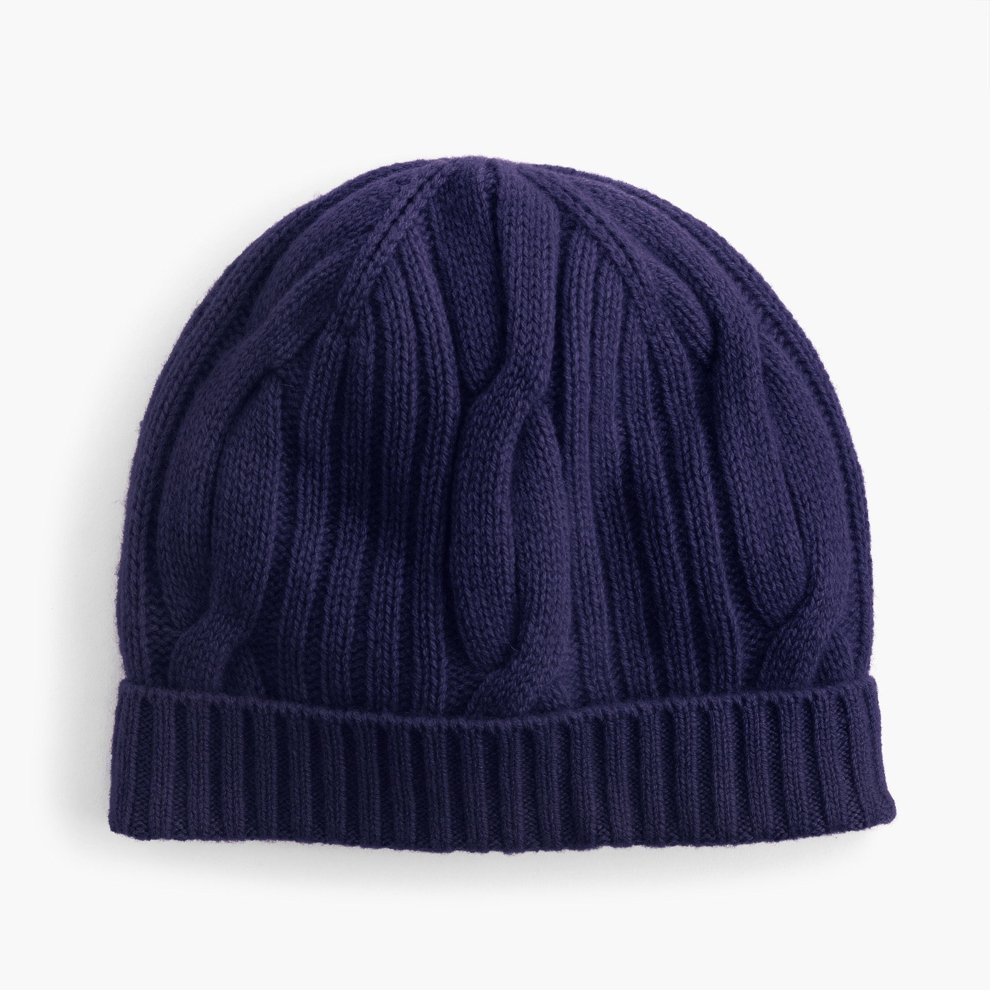 Ribbed cableknit beanie in everyday cashmere