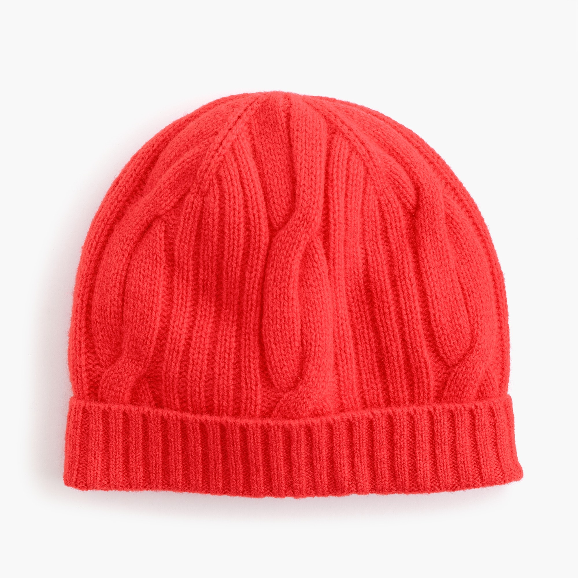 womens Ribbed cable-knit beanie in everyday cashmere