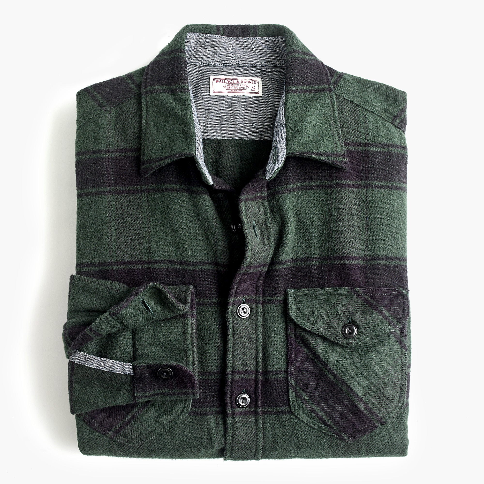 mens Wallace & Barnes heavyweight flannel shirt in stable plaid