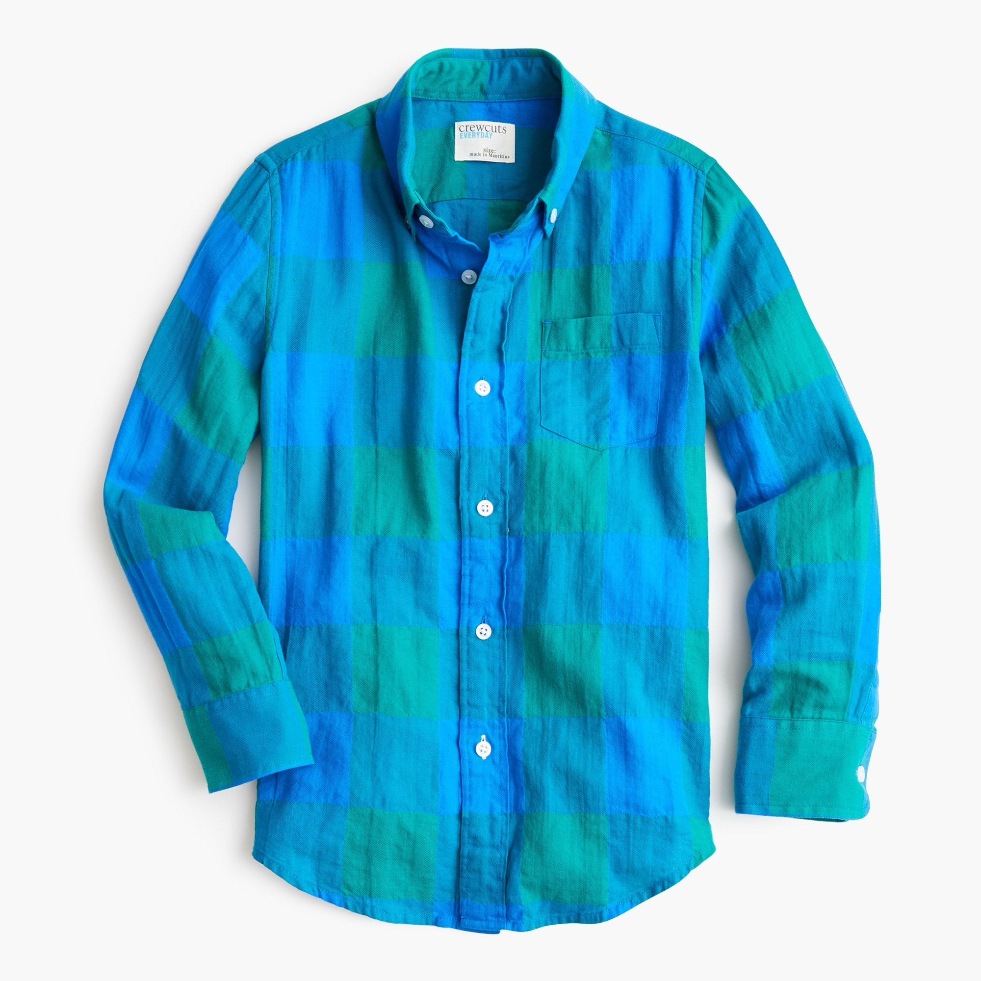 boys Boys' plaid button-down in crinkle cotton