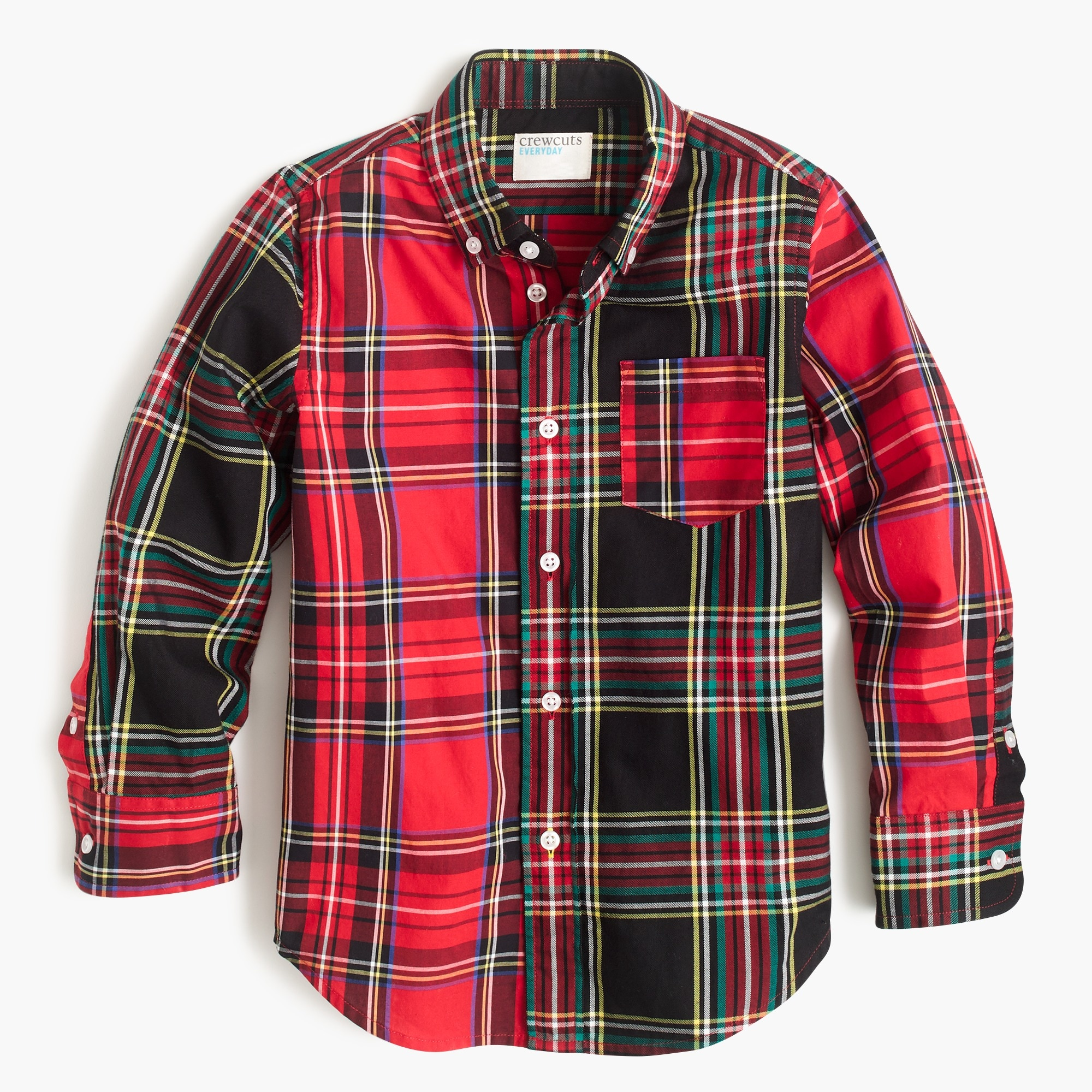 boys Boys' stretch poplin button-down in mixed tartans