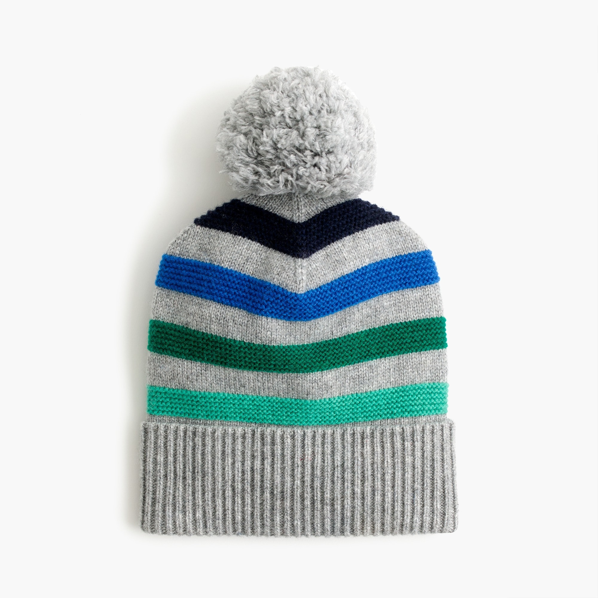 boys Kids' multi-striped knit hat with pom-pom