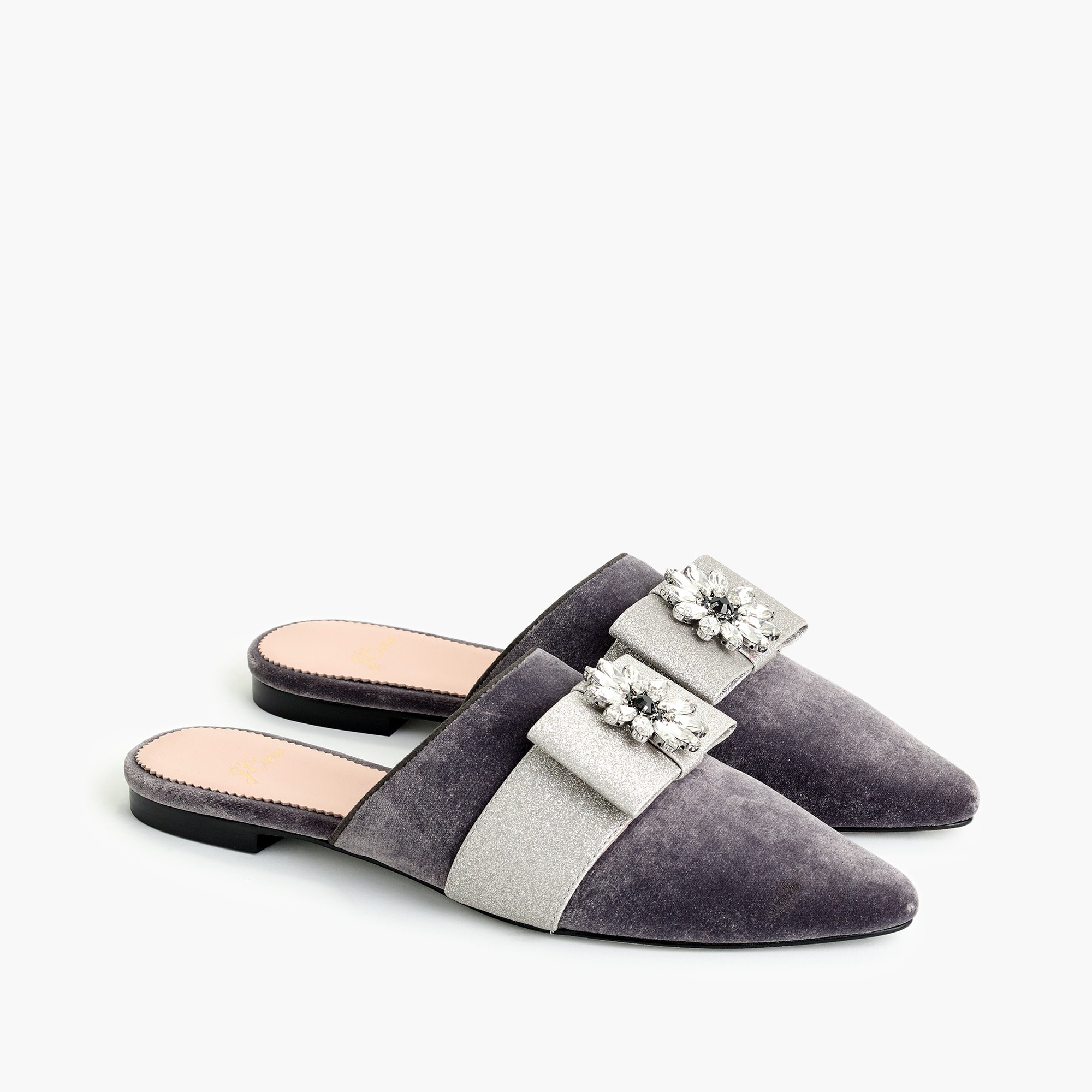 womens Pointed-toe bow slides in velvet