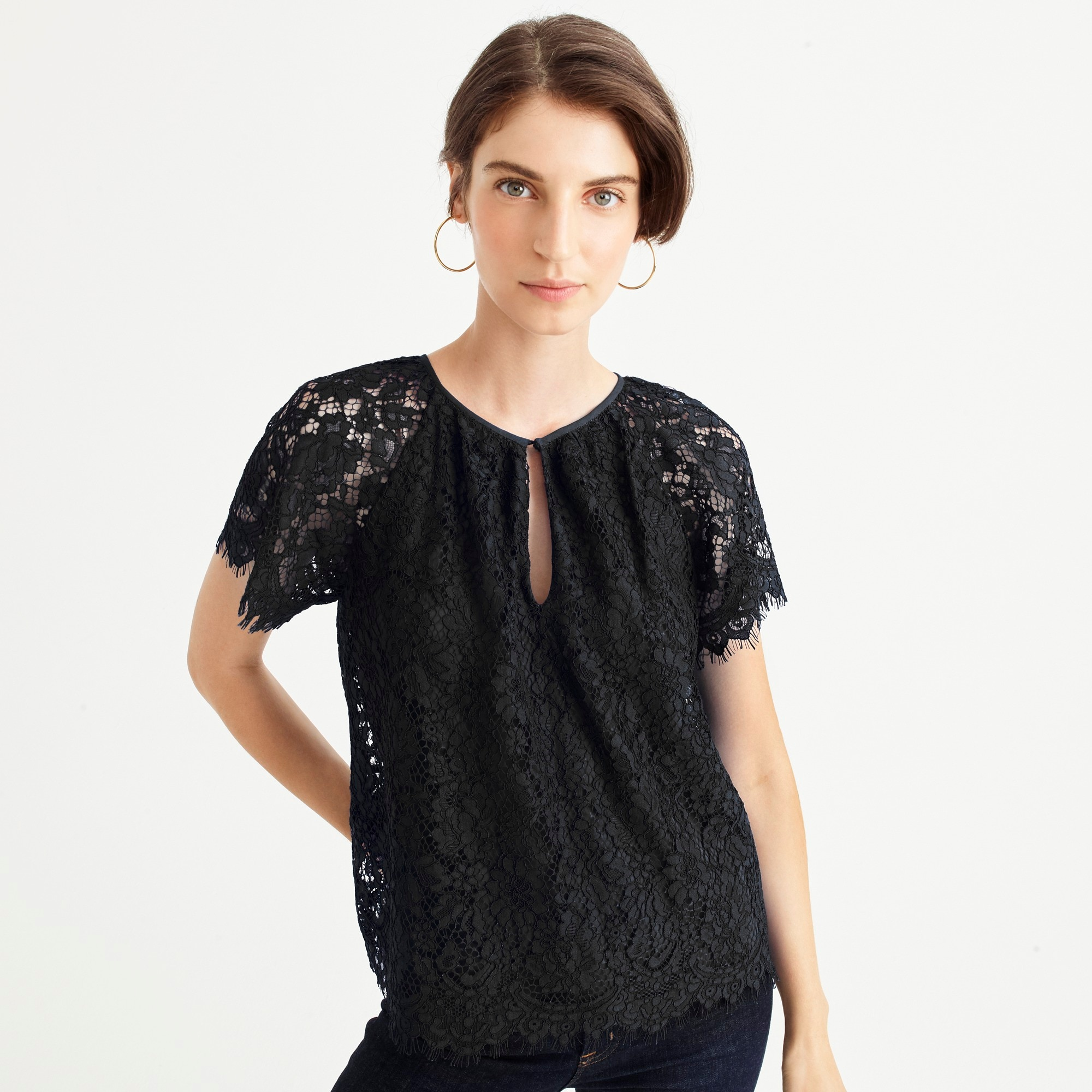womens Petite short-sleeve lace top