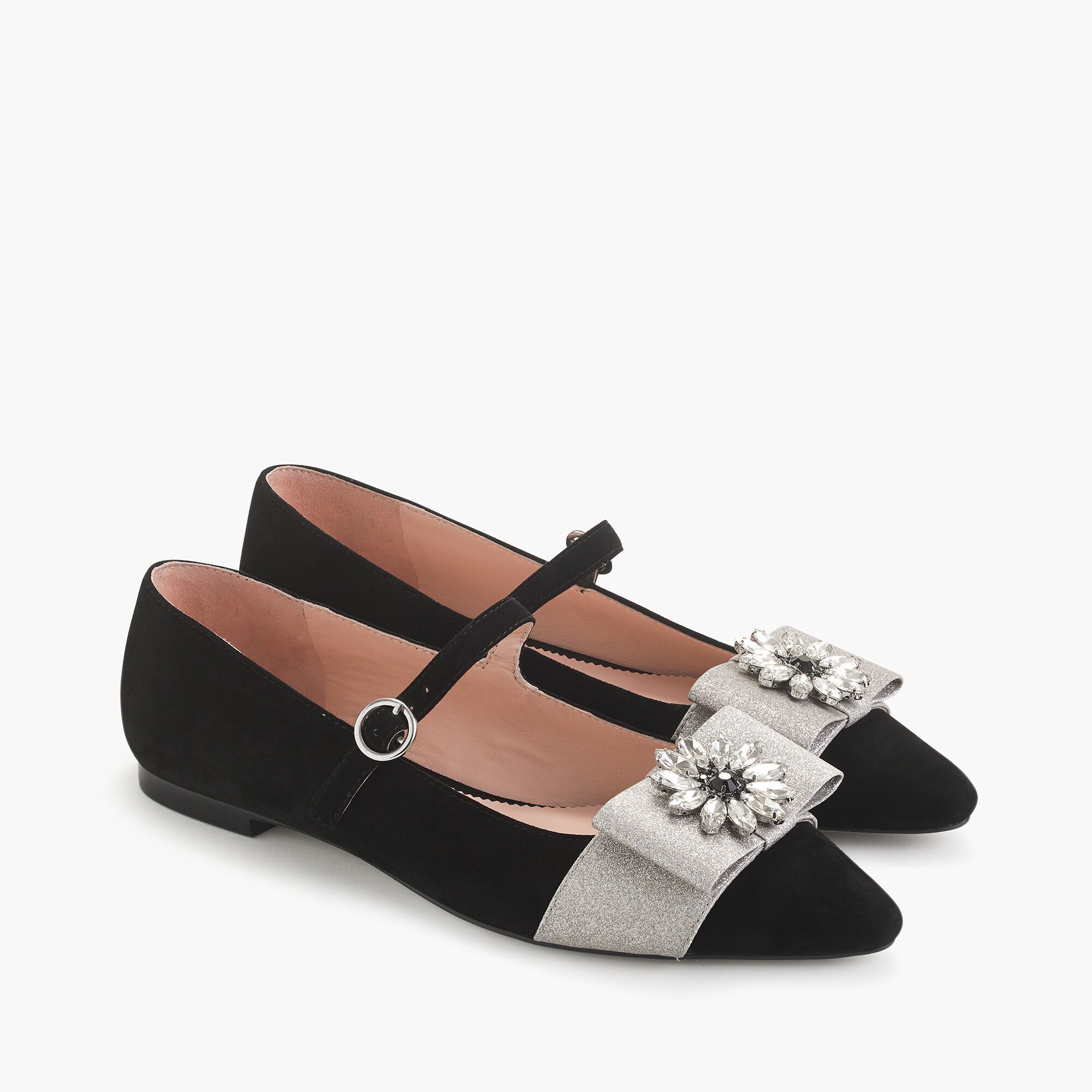 womens Pointed-toe Mary Jane flats with embellished bow in velvet