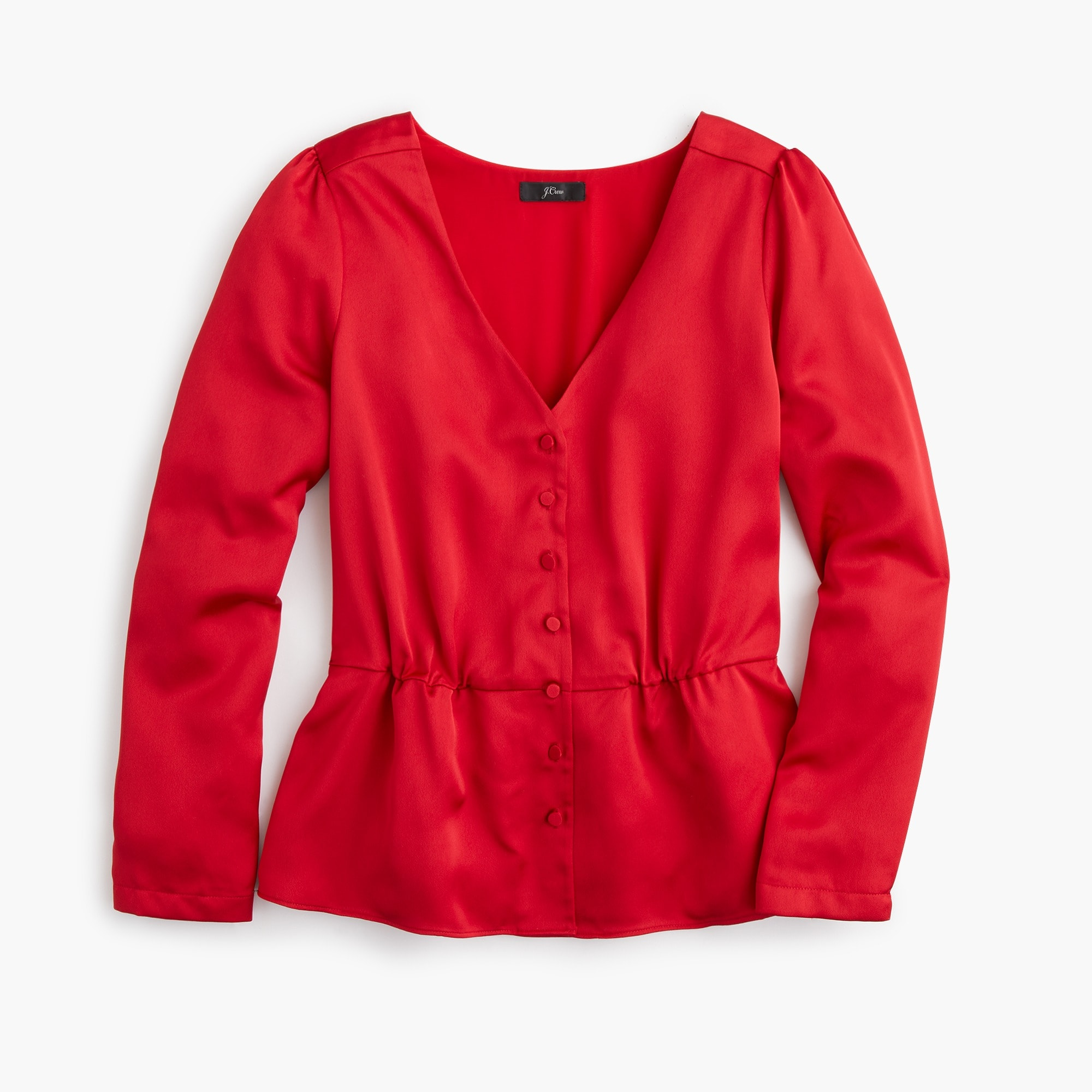 Image 6 for Long-sleeve peplum top in satin-crepe