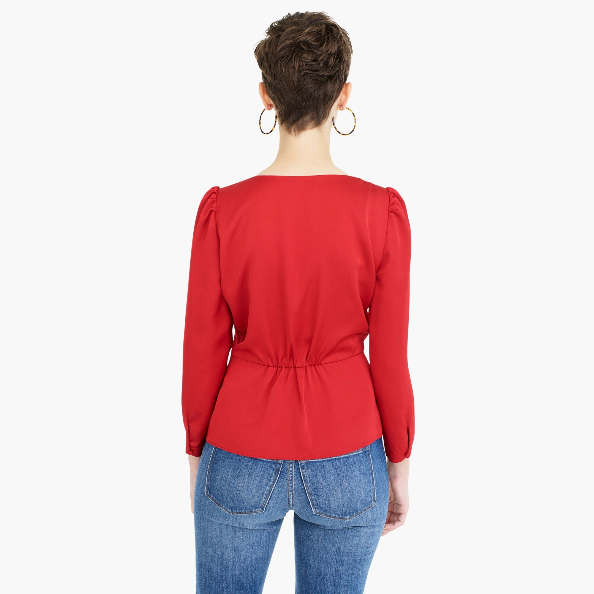 Image 5 for Long-sleeve peplum top in satin-crepe
