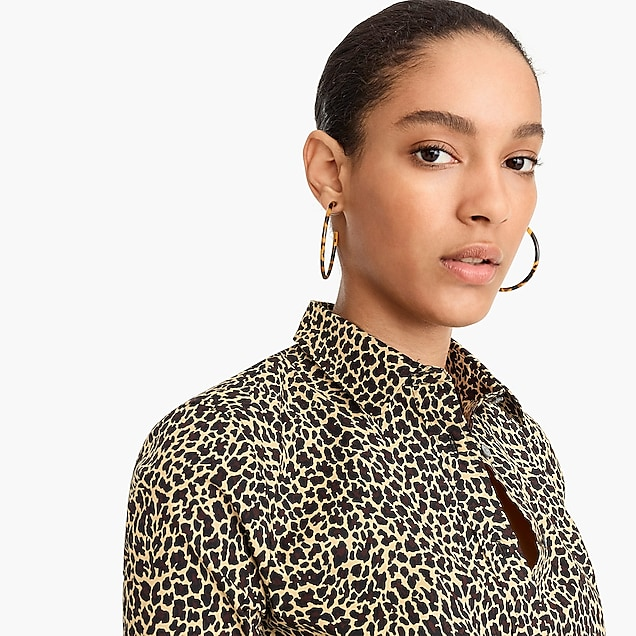 b5e86a39d4fb petite curvy slim stretch perfect shirt in leopard print : women  button-front