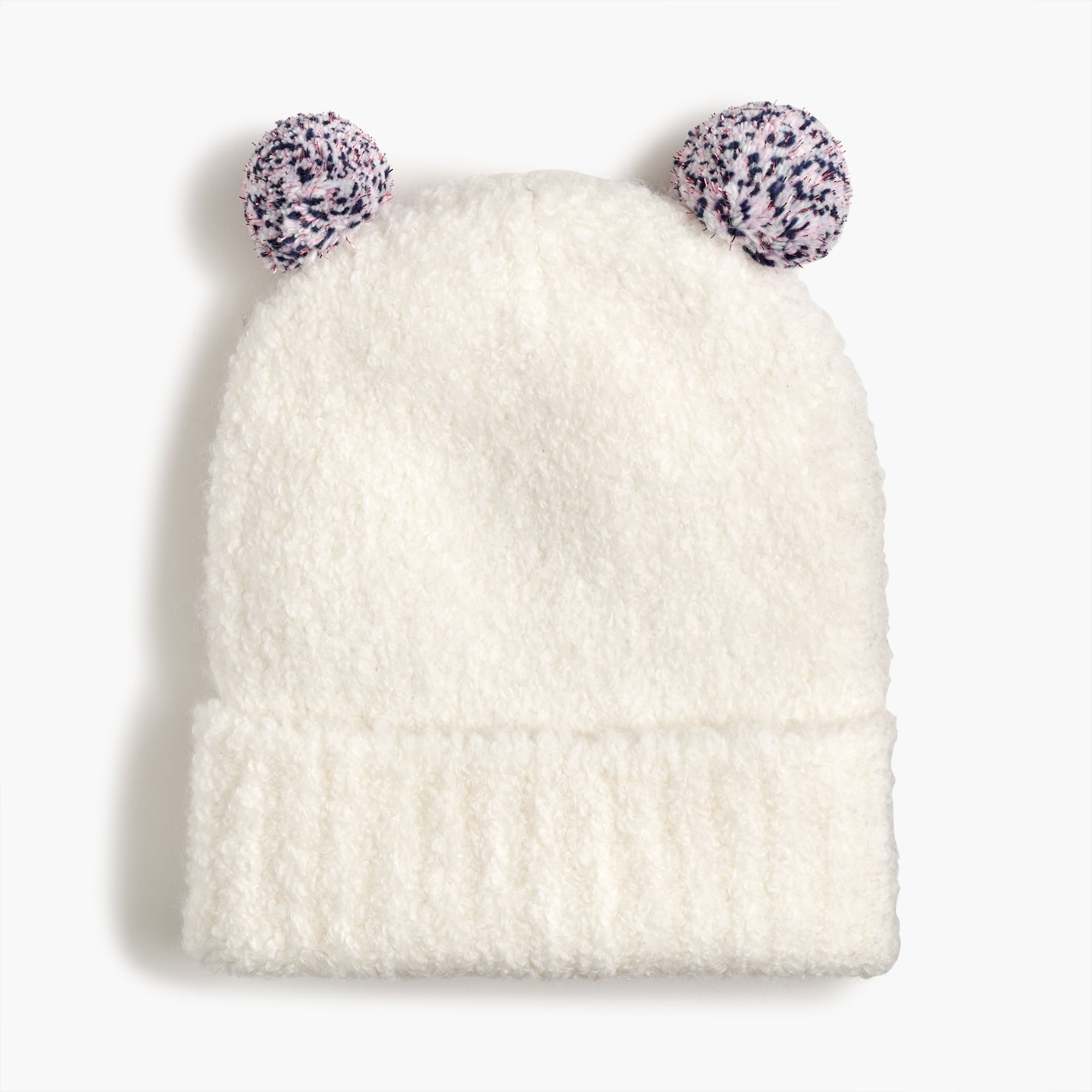 girls' knit cap with sparkly pom-poms - girls' accessories