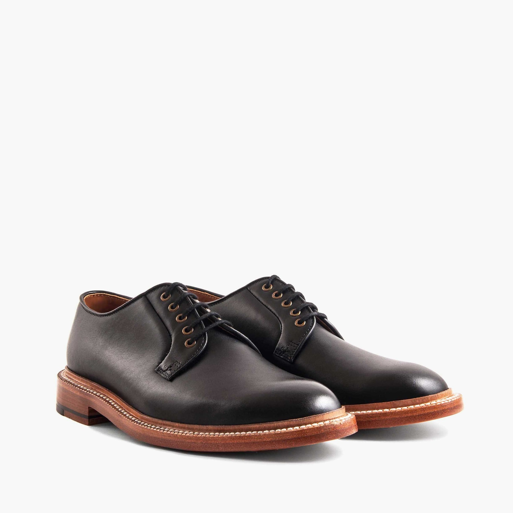 mens Grant Stone® plain-toe black french calf derbies