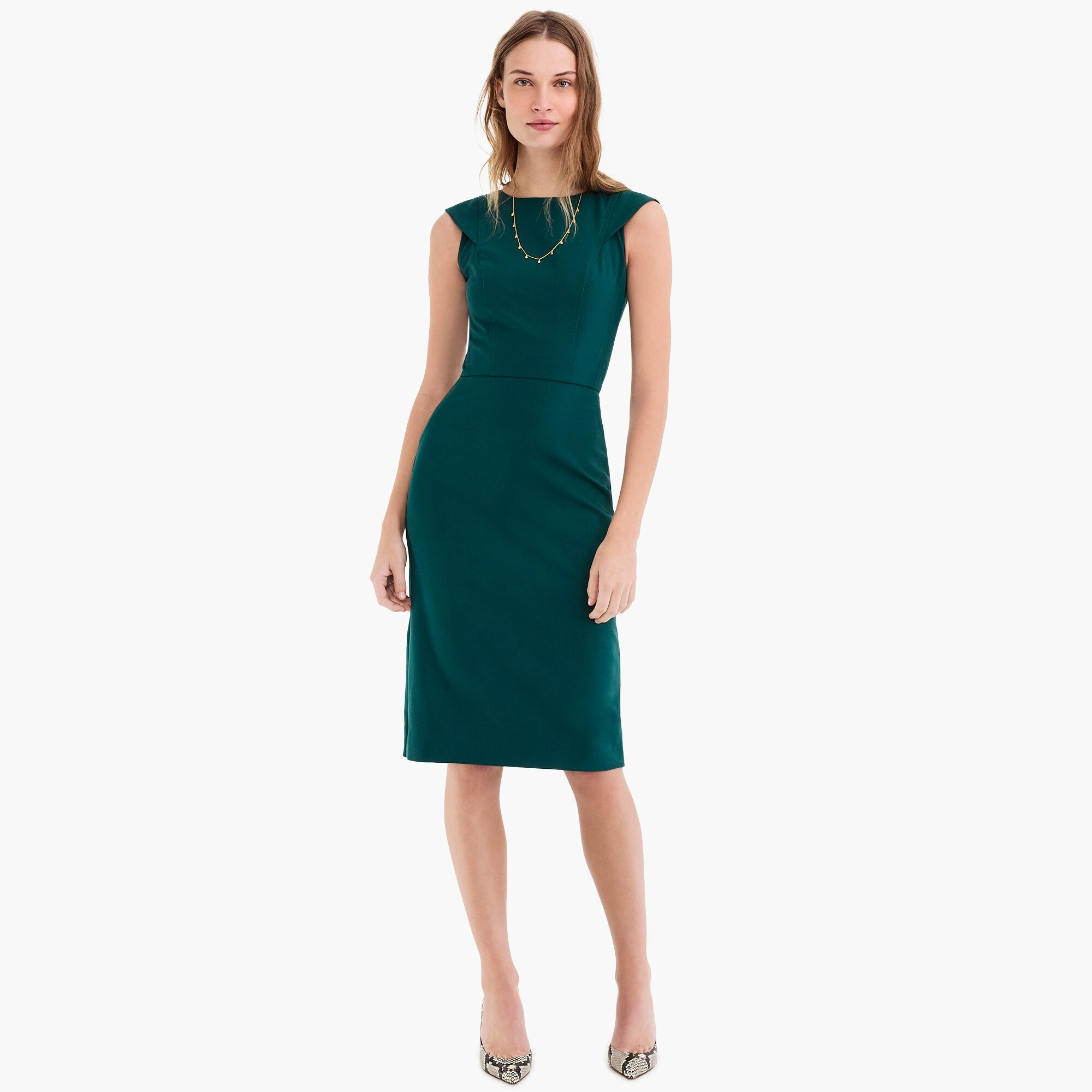 Cap-sleeve sheath dress in two-way stretch wool