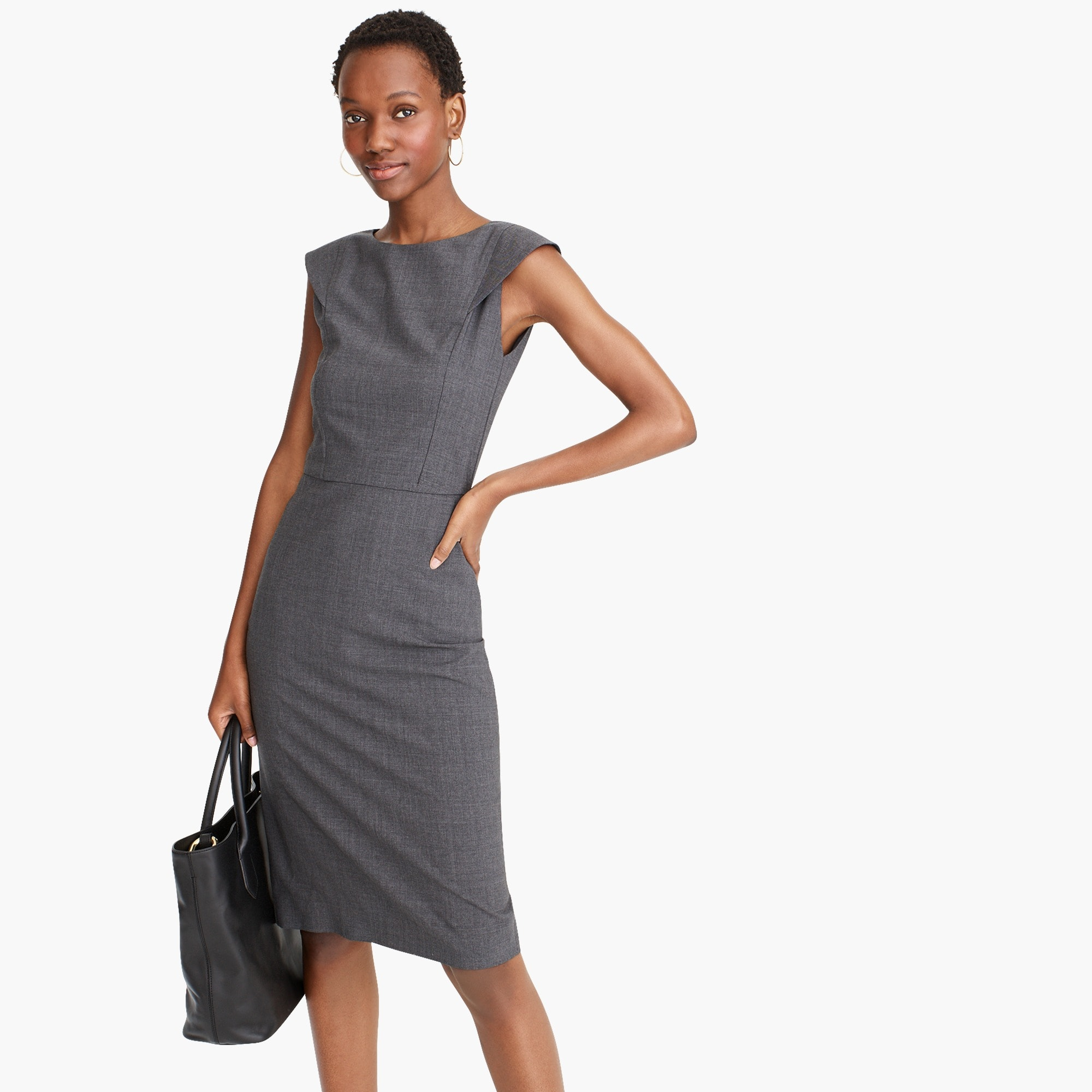womens Cap-sleeve sheath dress in two-way stretch wool