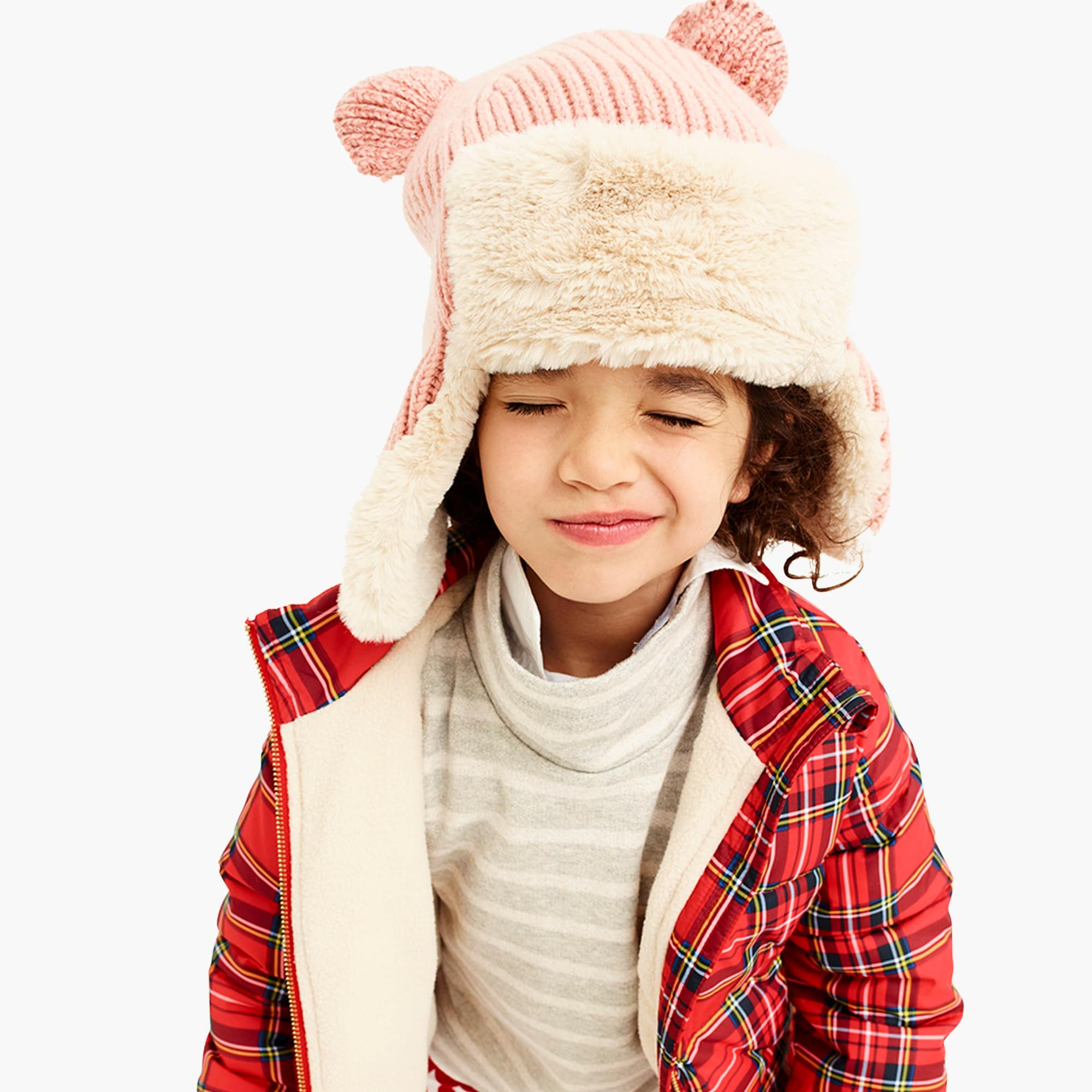 girls' puffer jacket with eco-friendly primaloft® in red tartan : girl novelty coats