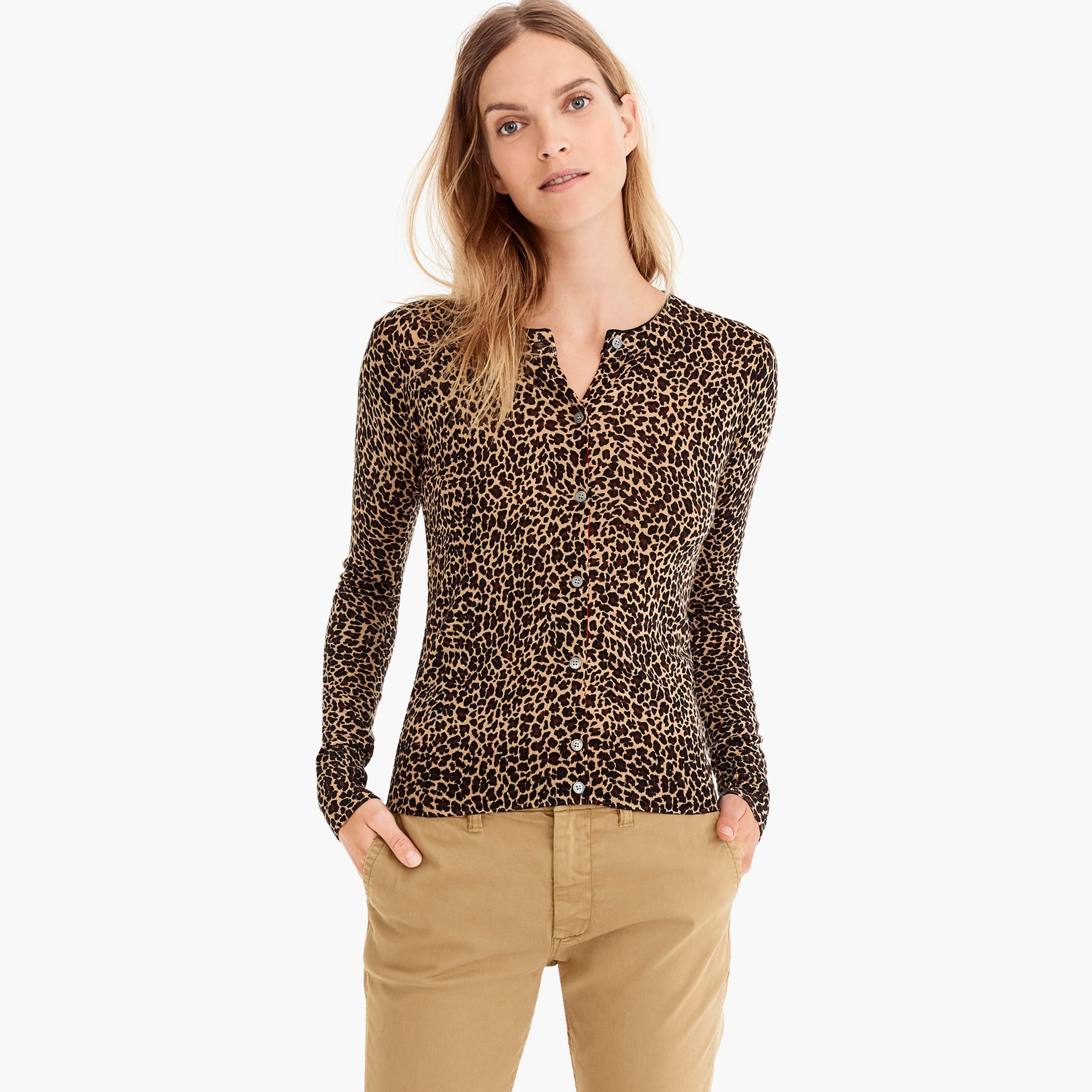 womens Jackie cardigan sweater in leopard