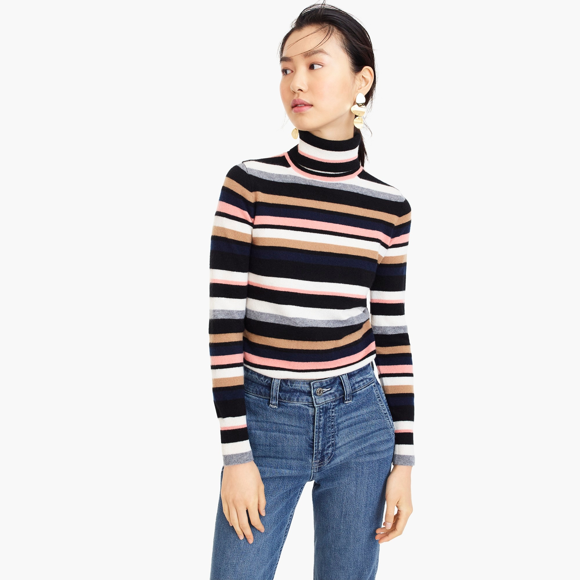 womens Turtleneck sweater in striped everyday cashmere