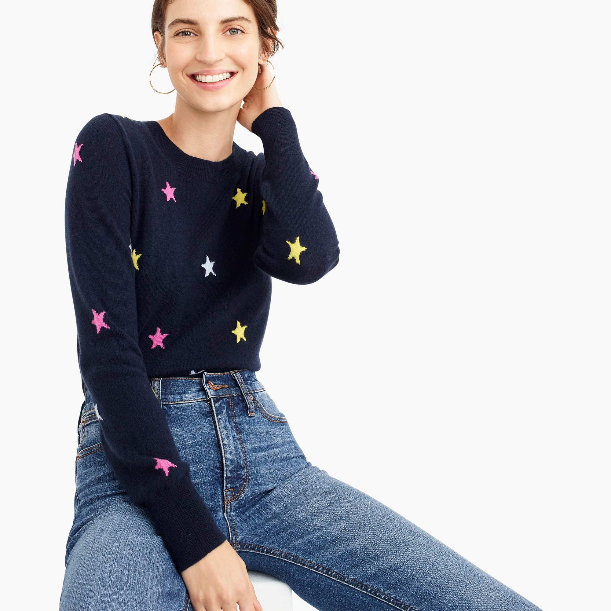 womens Long-sleeve everyday cashmere crewneck sweater in stars