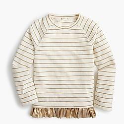 Girls' ruffle-hem top in stripes