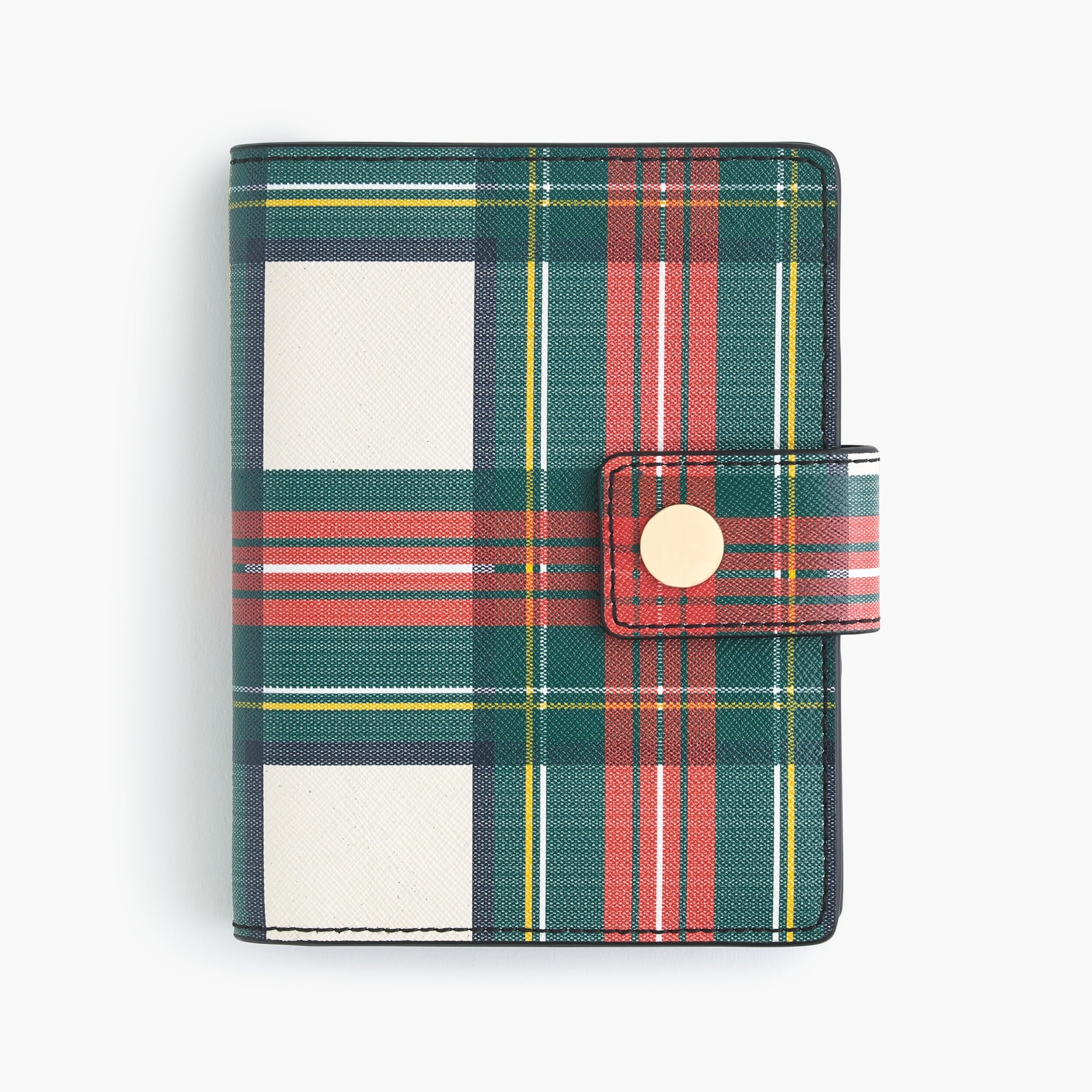 womens Tartan-printed leather passport case