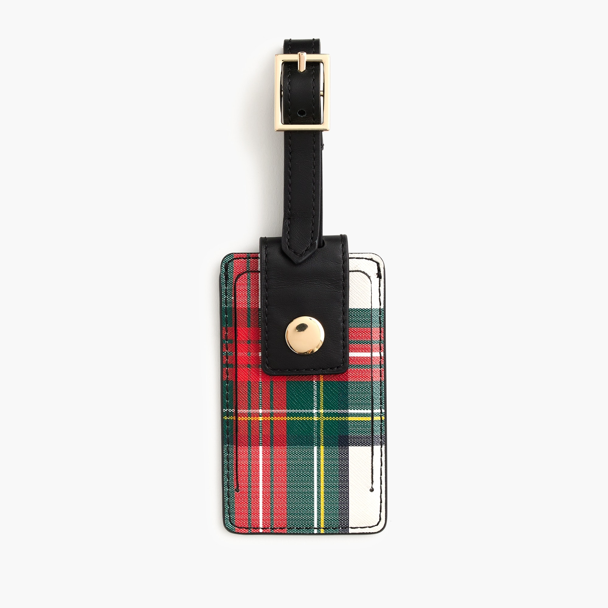 womens Luggage tag in Stewart black tartan-printed leather