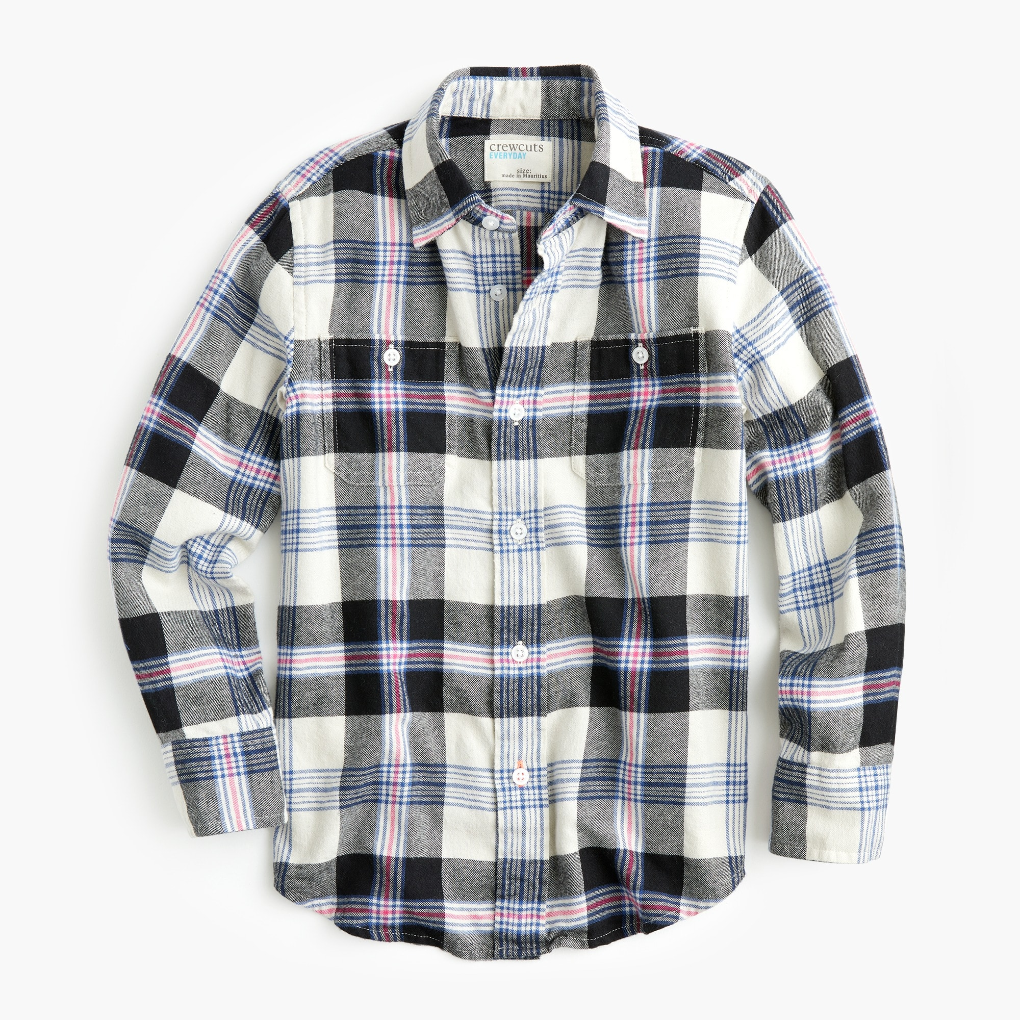 boys Boys' lightweight flannel shirt in gray plaid