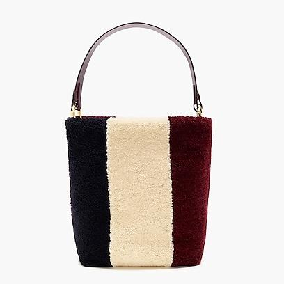 Womens Harper Bucket Bag In Colorblock Shearling