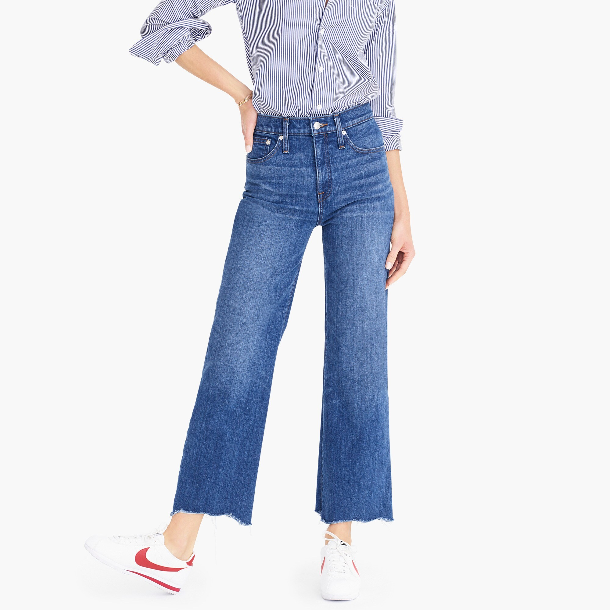 womens Wide-leg cropped jean with chewed hems