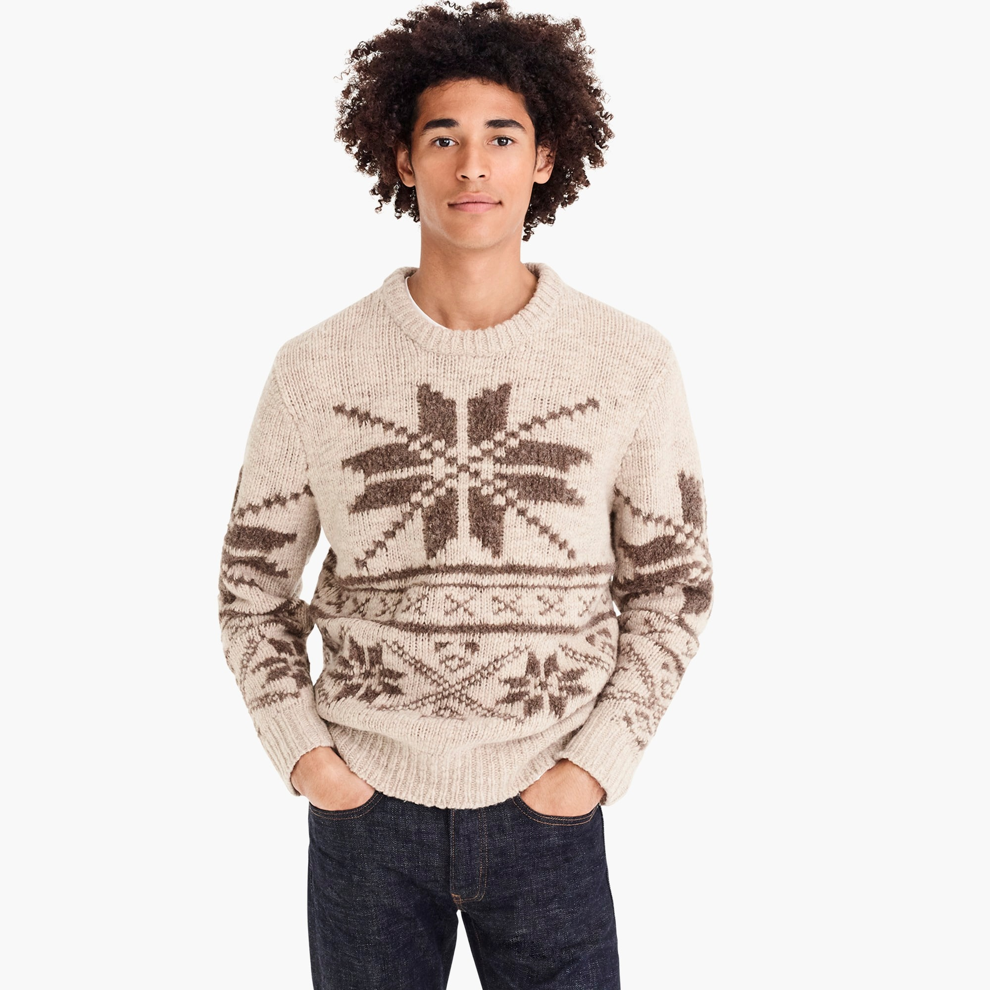 mens Oversized Fair Isle crewneck sweater in bouclé
