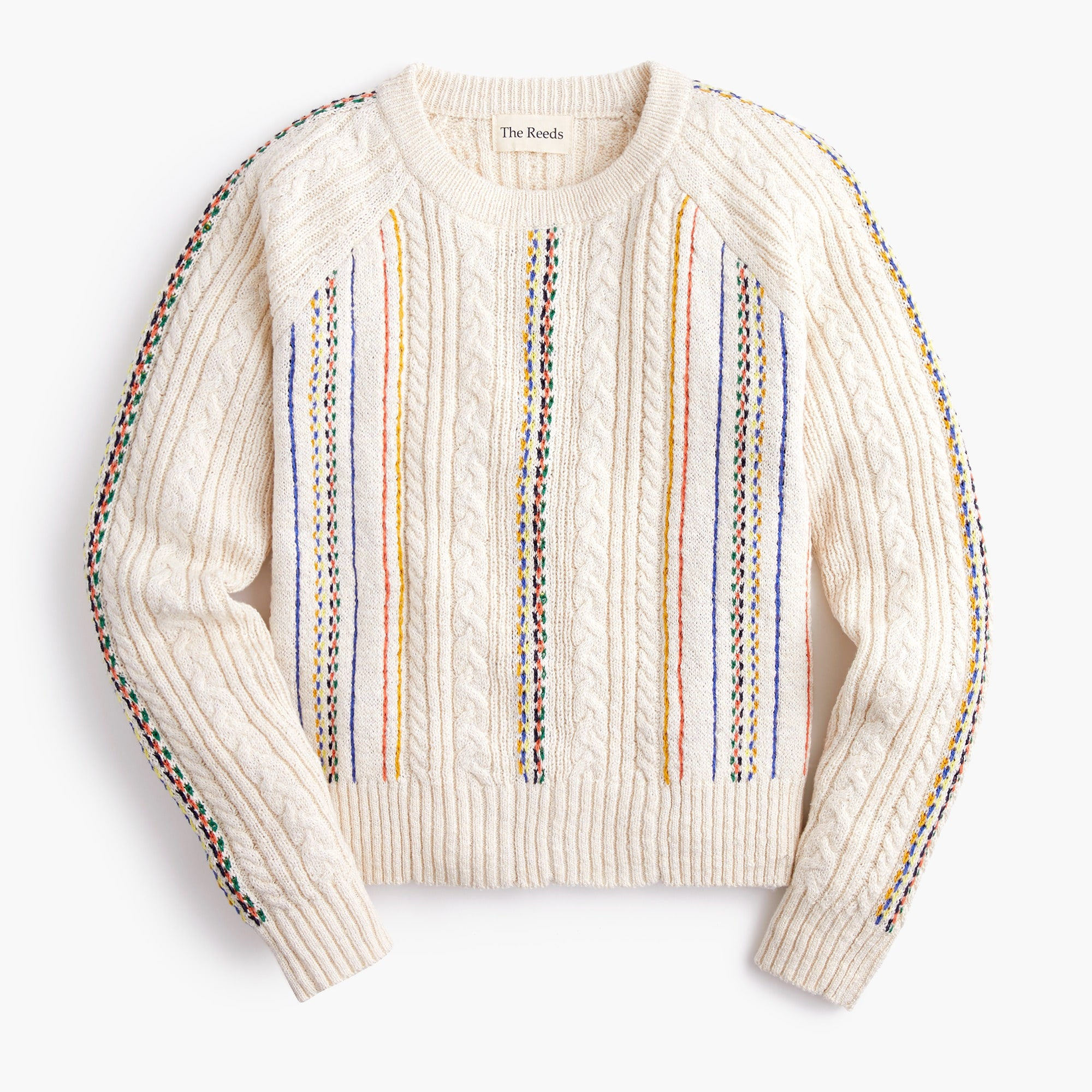 Image 1 for The Reeds X J.Crew rainbow cable-knit crewneck sweater