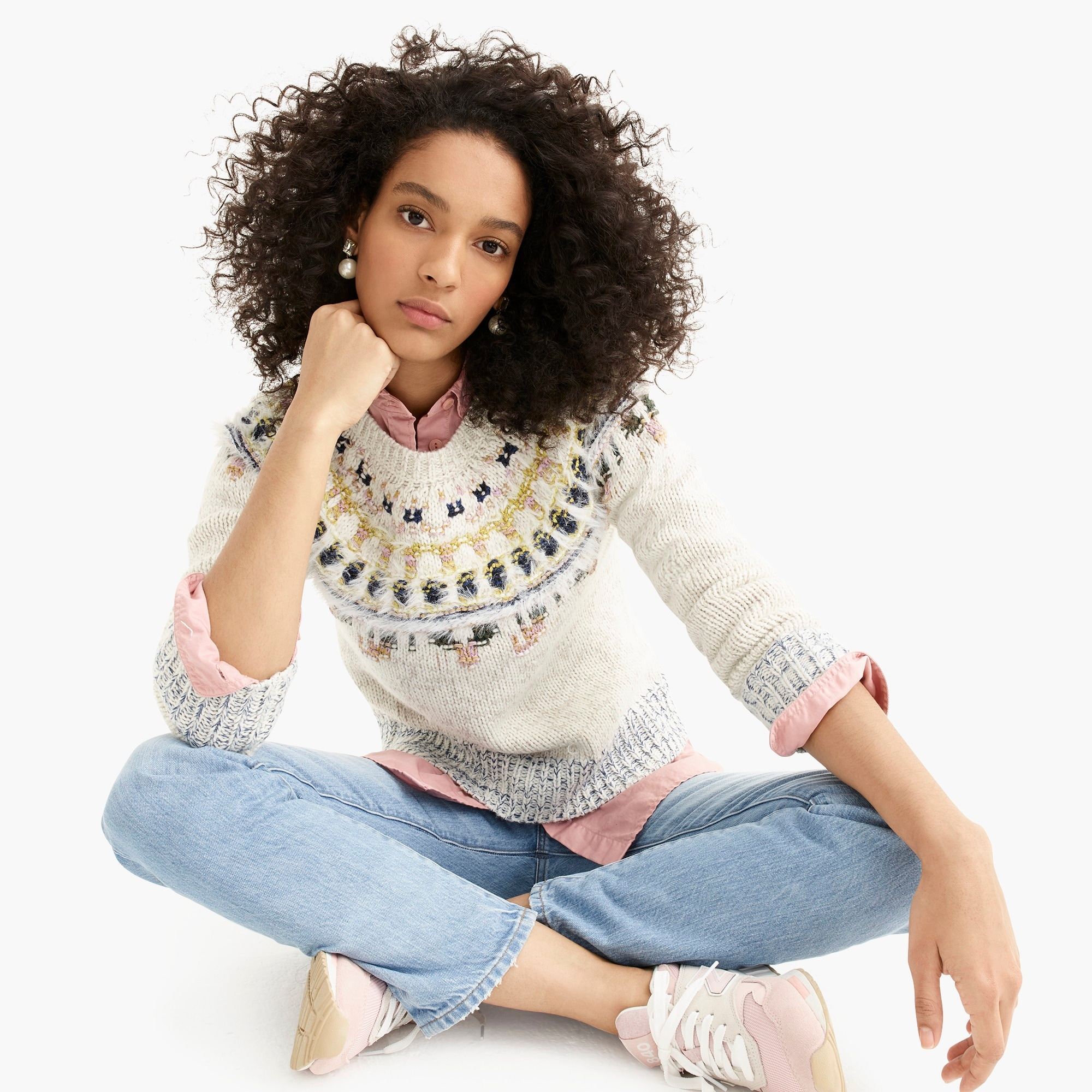 womens The Reeds X J.Crew crewneck sweater in fuzzy Fair Isle