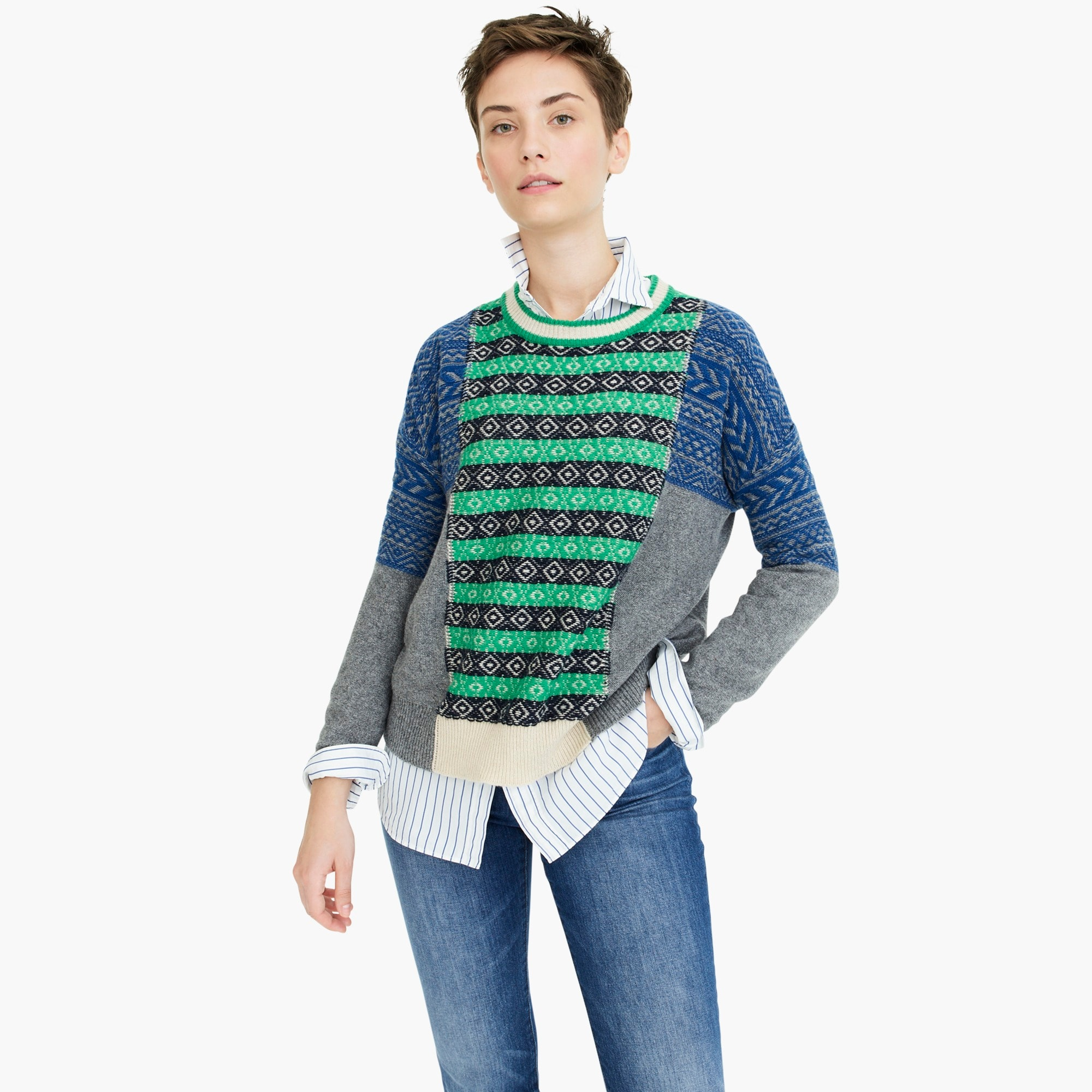 womens The Reeds X J.Crew multi Fair Isle crewneck sweater