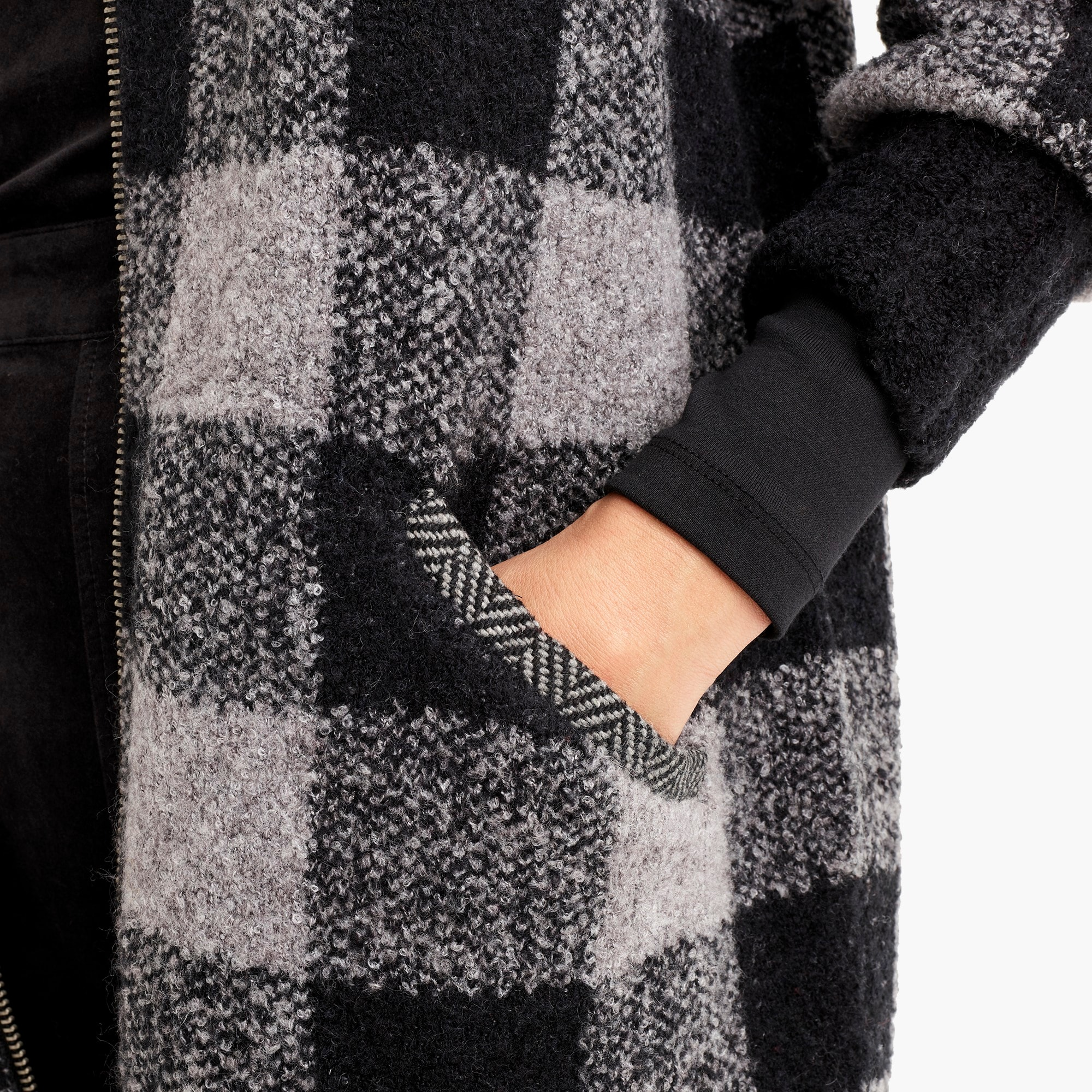Image 3 for The Reeds X J.Crew buffalo check coat cardigan in black