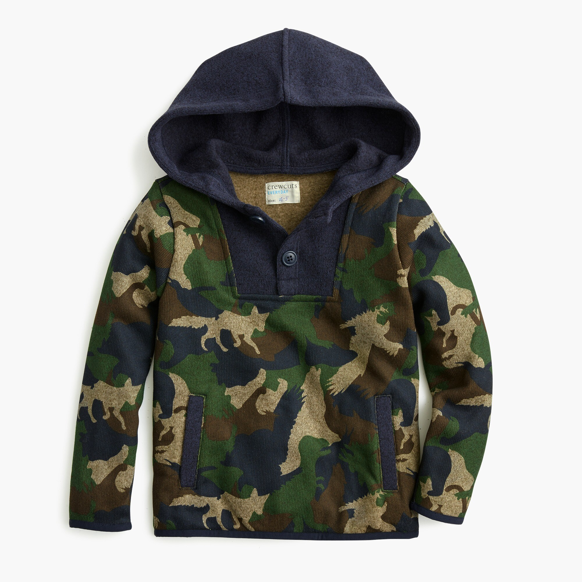 boys Boys' Summit fleece button-up popover in critter camo