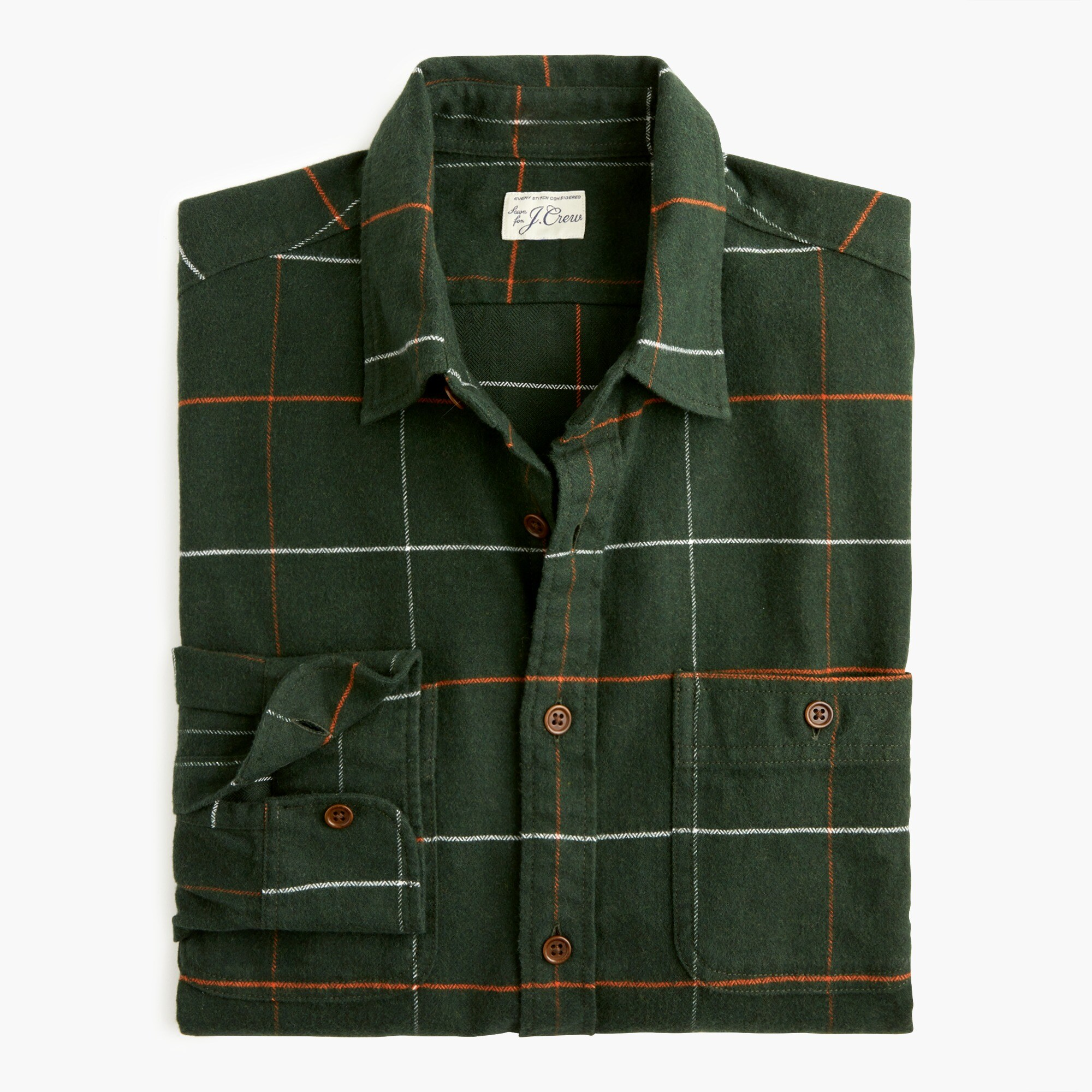 mens Midweight herringbone flannel shirt in tattersall