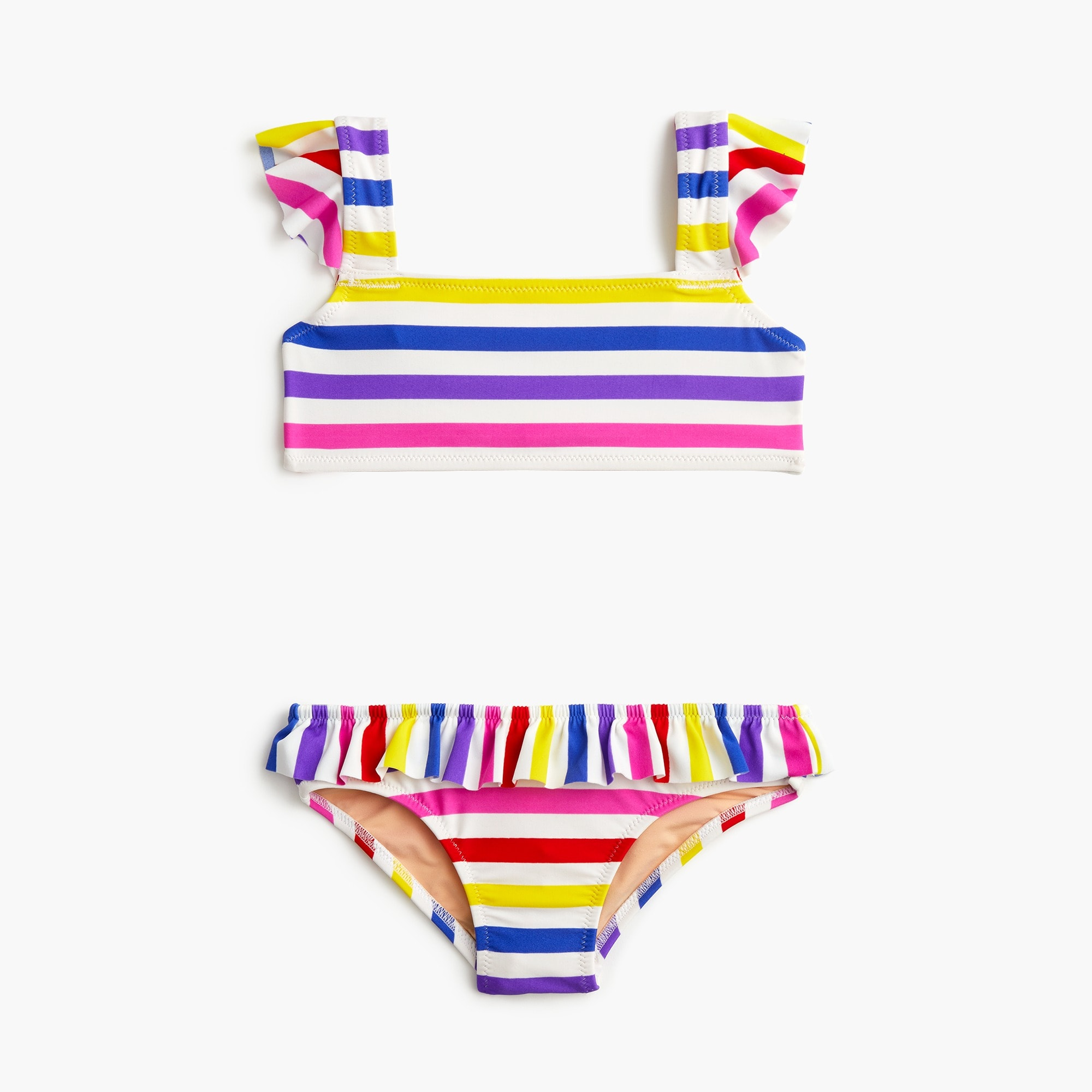 girls Girls' ruffled bikini set in stripes