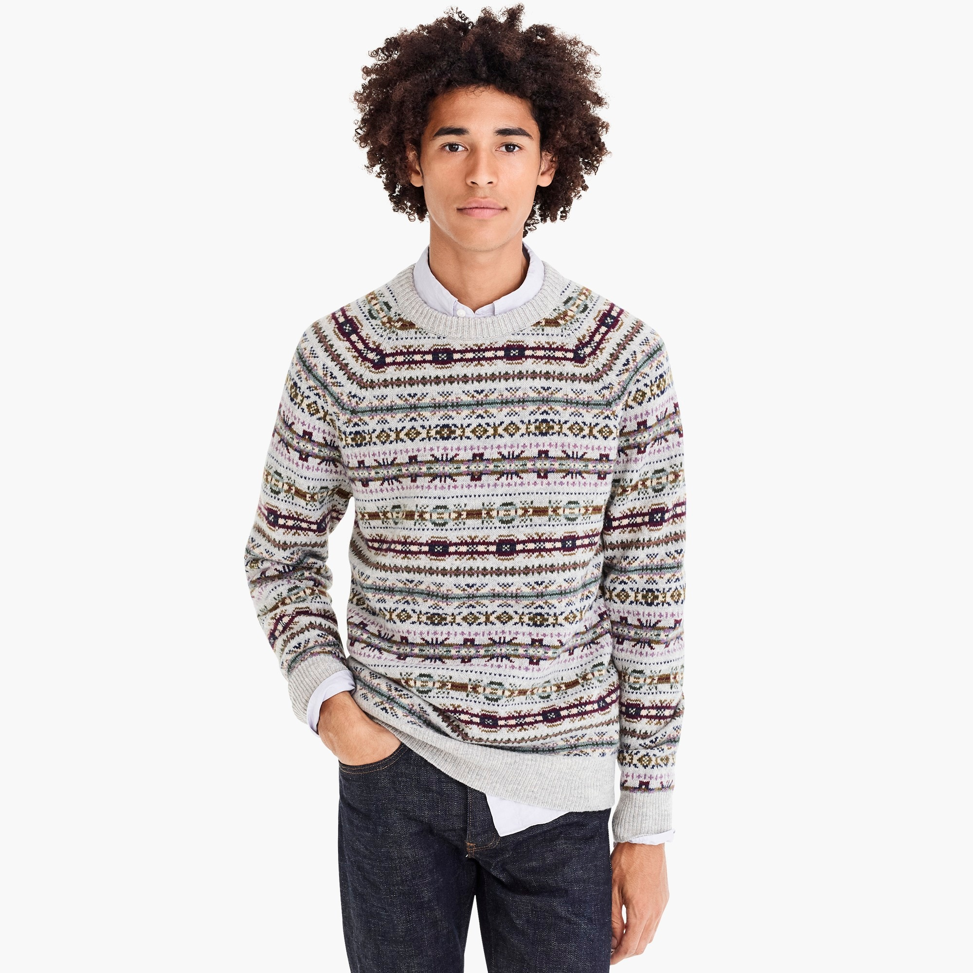 mens Lambswool crewneck sweater in Fair Isle