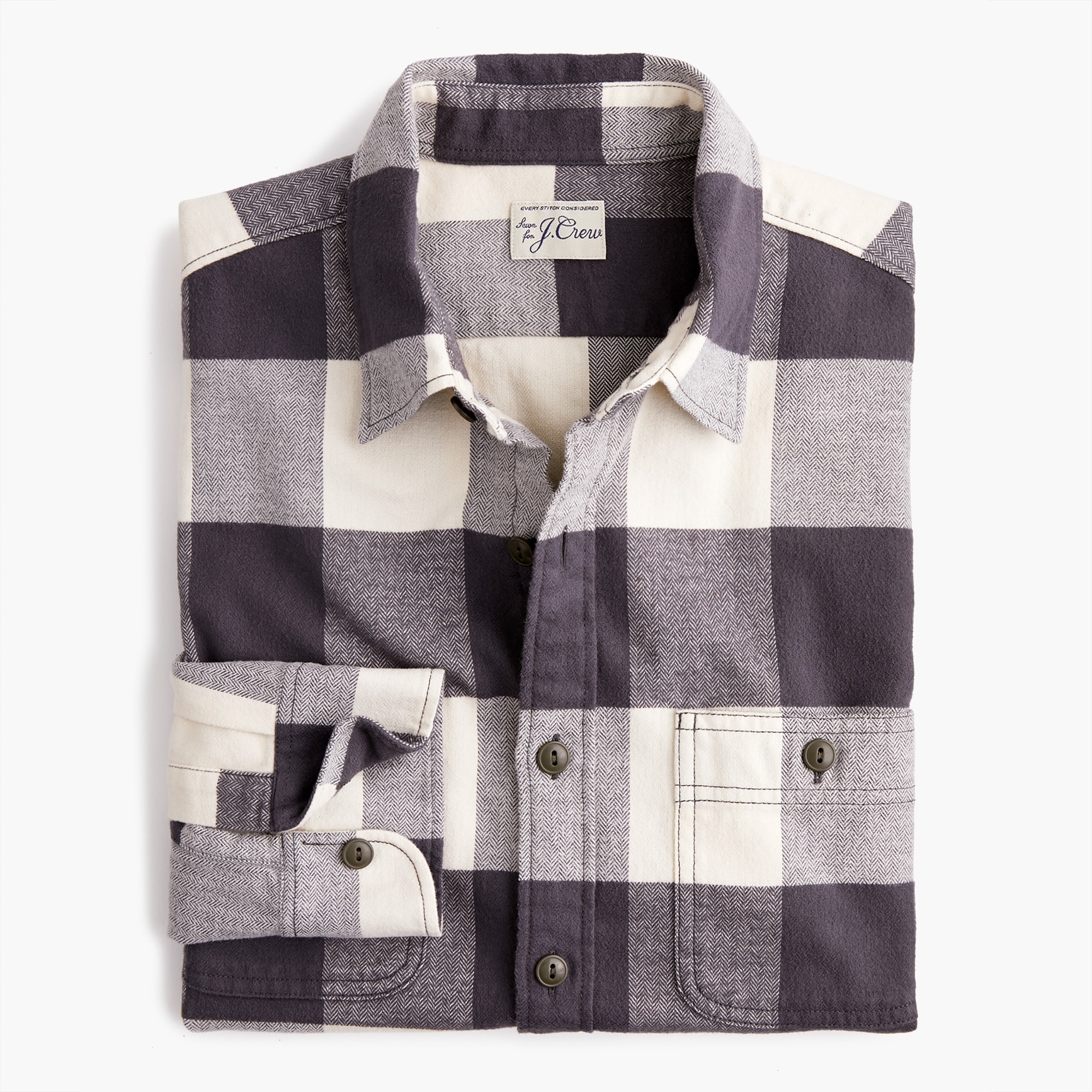 mens Midweight herringbone flannel shirt in buffalo plaid