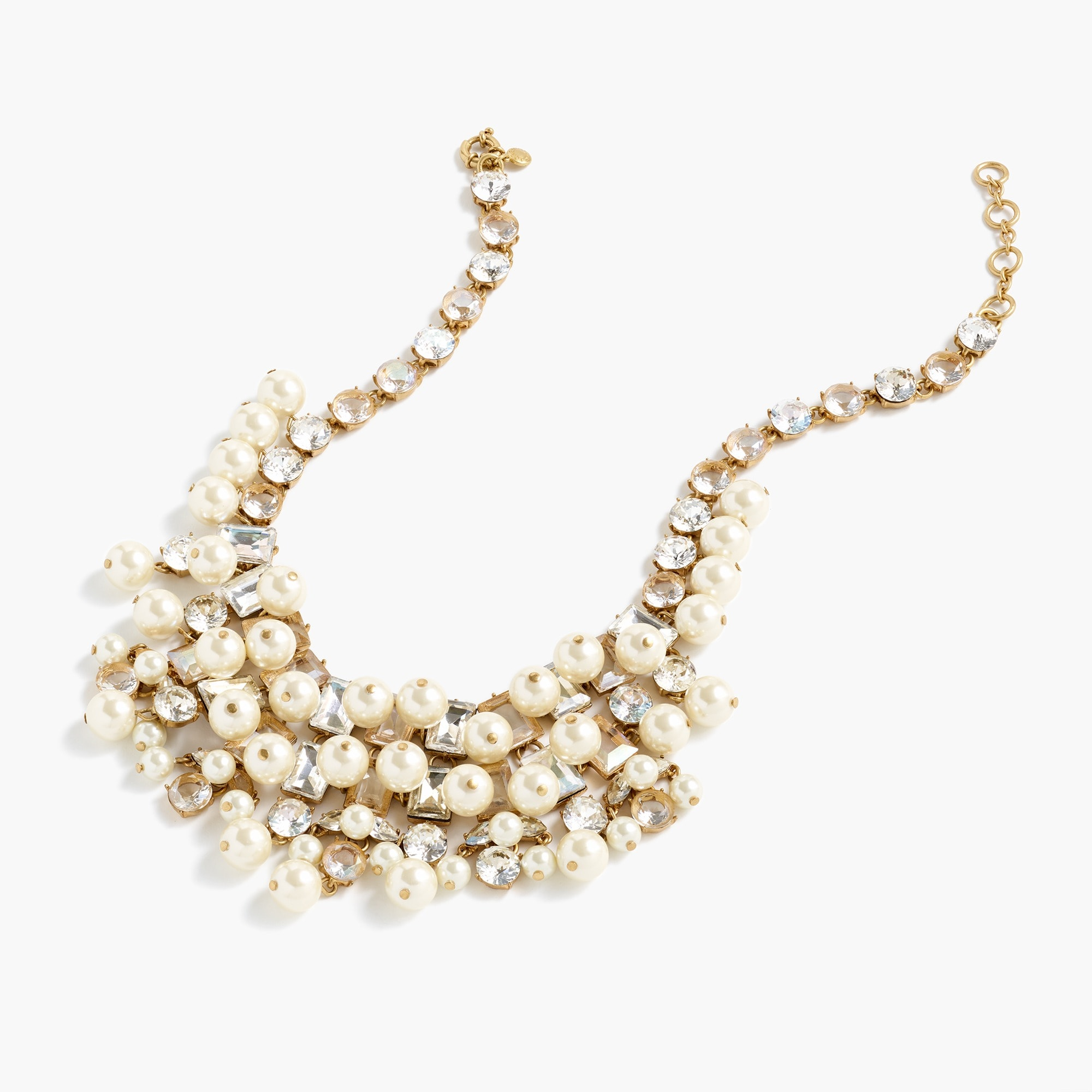 womens Crystal and pearl statement necklace