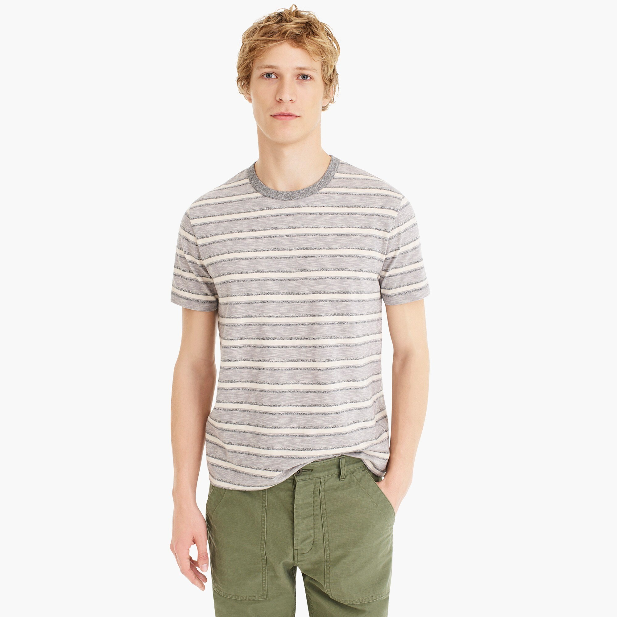 mens J.Crew Jeans slub jersey pocket T-shirt in heathered stripe